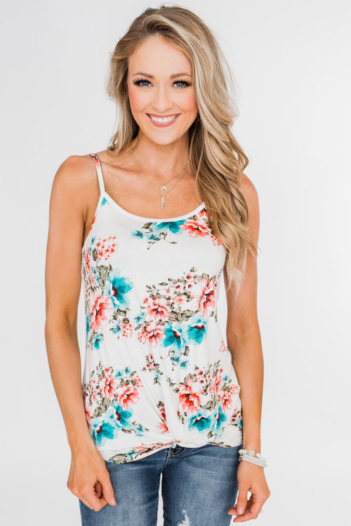 Caught Up in Floral Twist Tank Top- Ivory