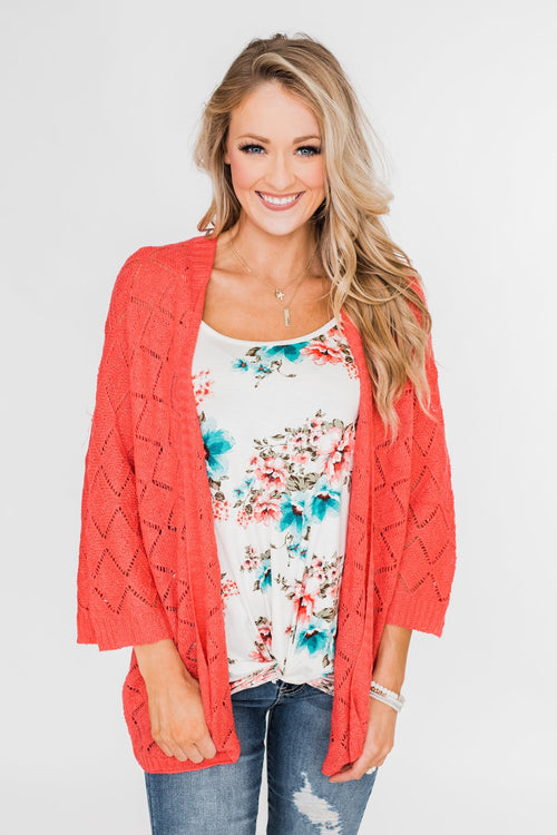Pointtelle 3/4 Sleeve Cardigan- Coral