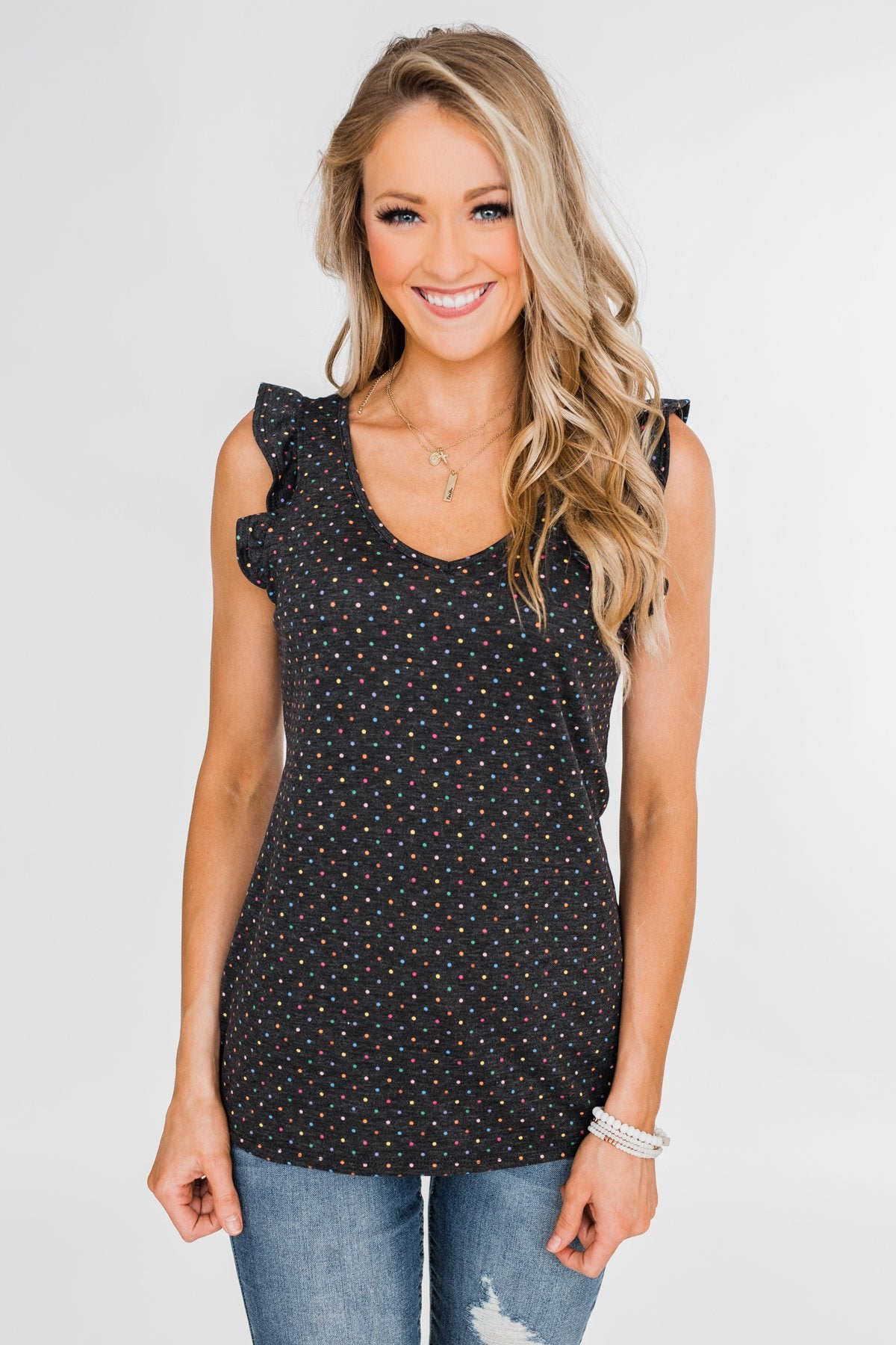Seeing Spots Ruffle Tank Top- Charcoal & Multi