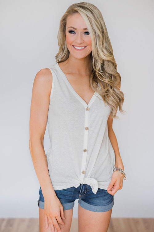 Everyday Button Tie Tank Top- White