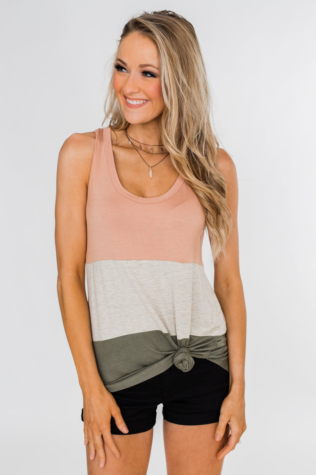 Unforgettable Racerback Color Block Tank Top- Blush