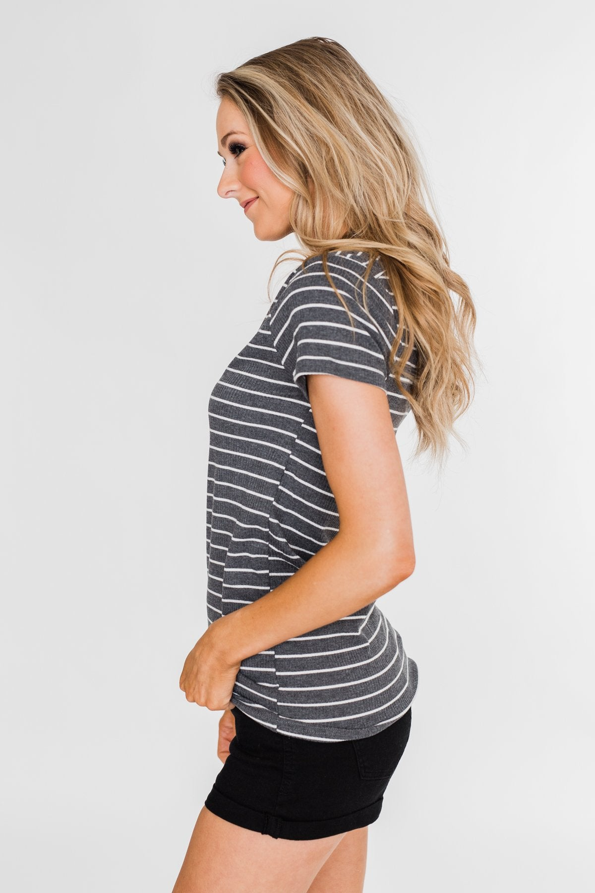 Basic Stripe 4 Button Top- Grey & Ivory