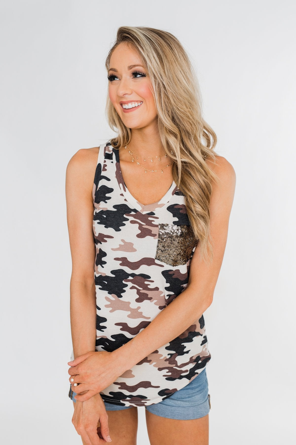 Hidden From You Glam Pocket Top- Camo