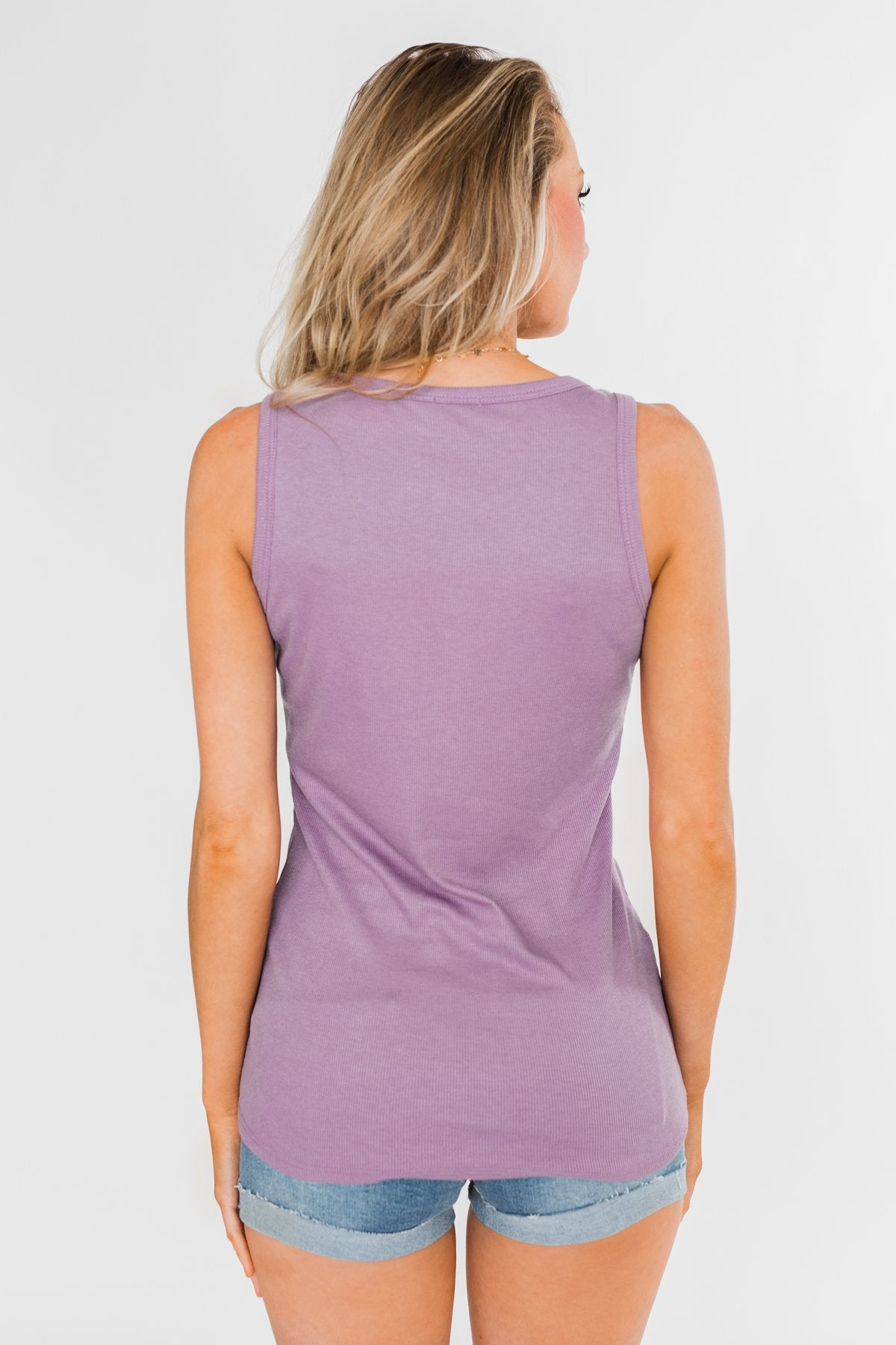 5 Button Henley Tank Top- Dusty Purple