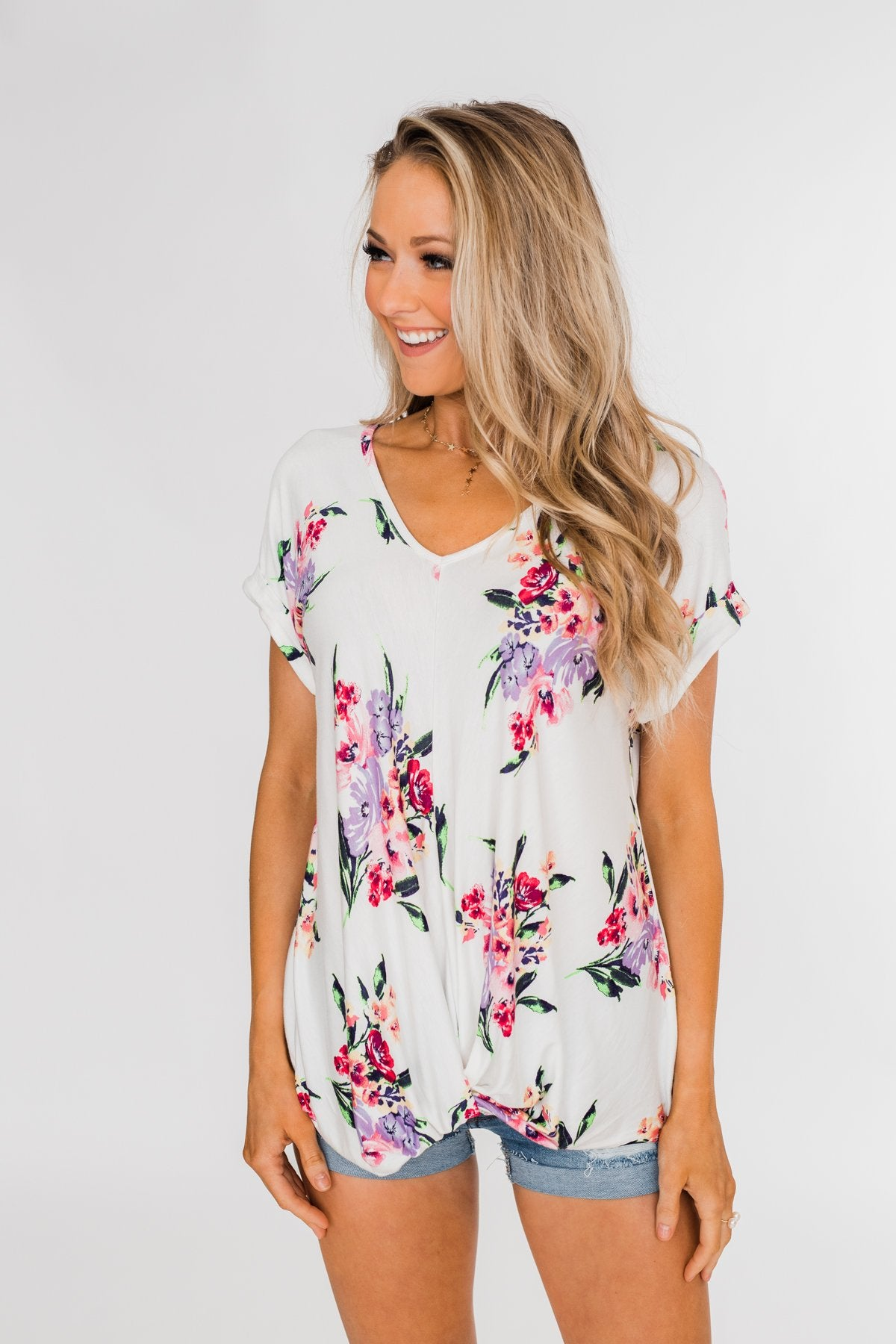 Look at You Floral Twist Top- Ivory