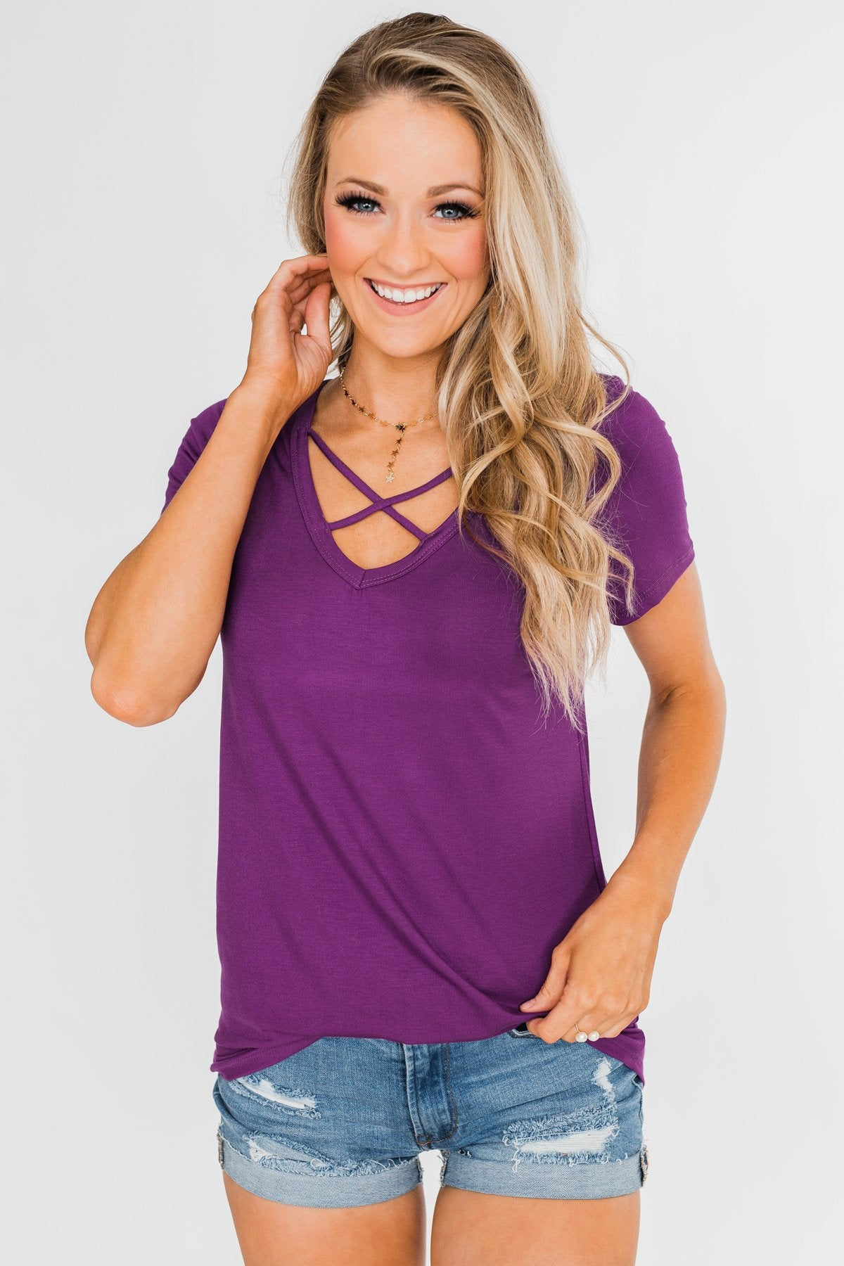 Meet Me Here Short Sleeve Top- Purple