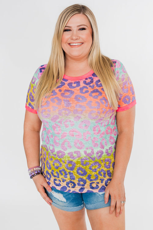 Bright & Beautiful Leopard Print Top- Multi
