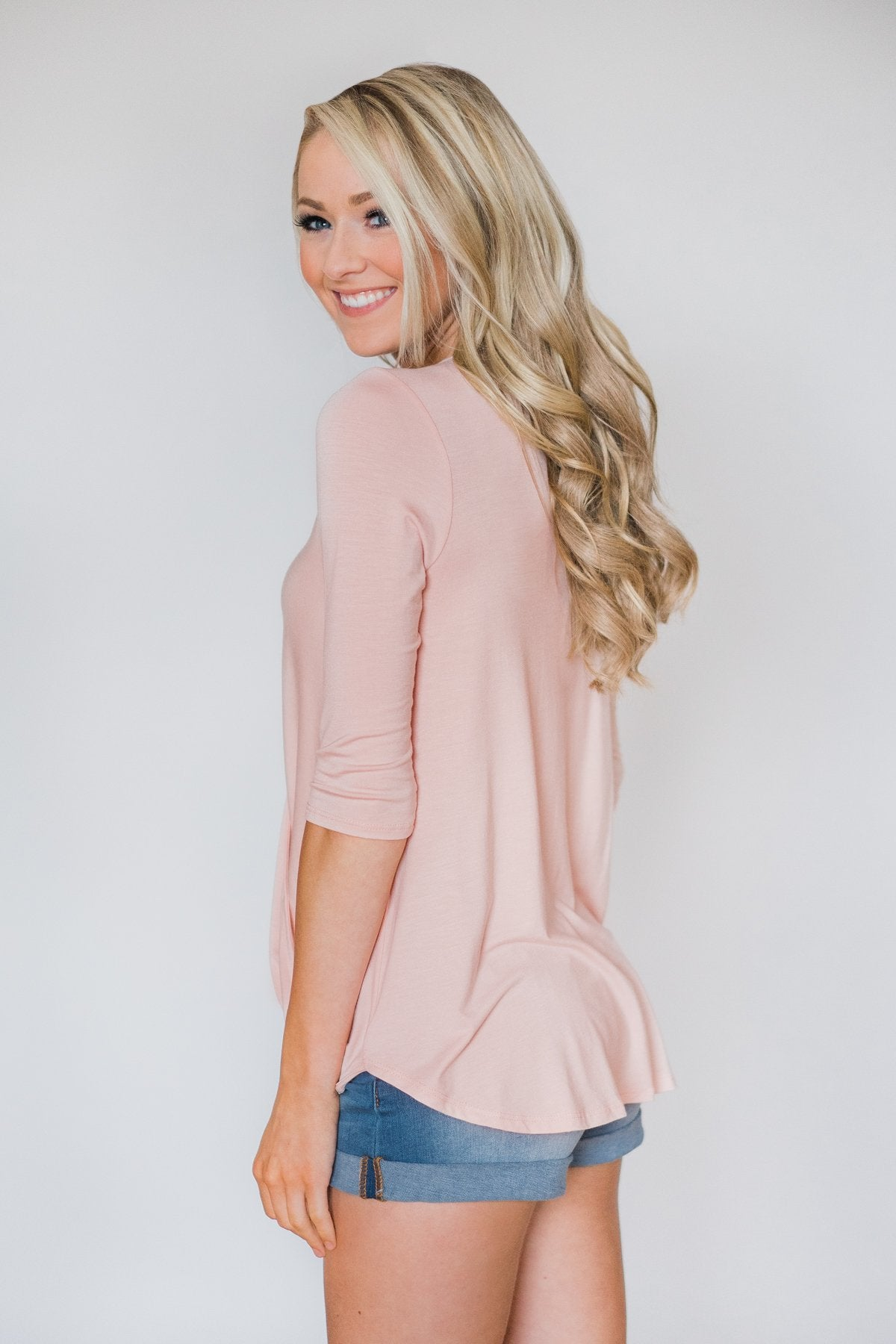 Cross My Heart 3/4 Sleeve Wrap Top- Blush