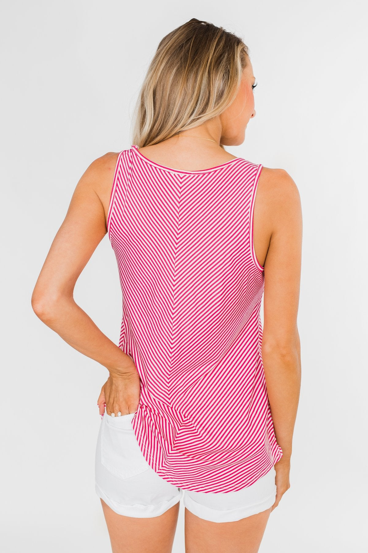 Line It Up Striped Pocket Tank Top- Fuchsia