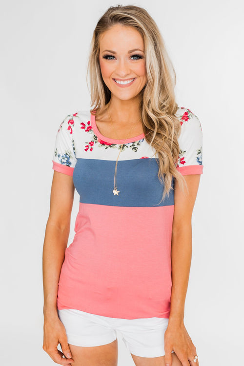Color Block Short Sleeve Floral Top- Pink & Blue