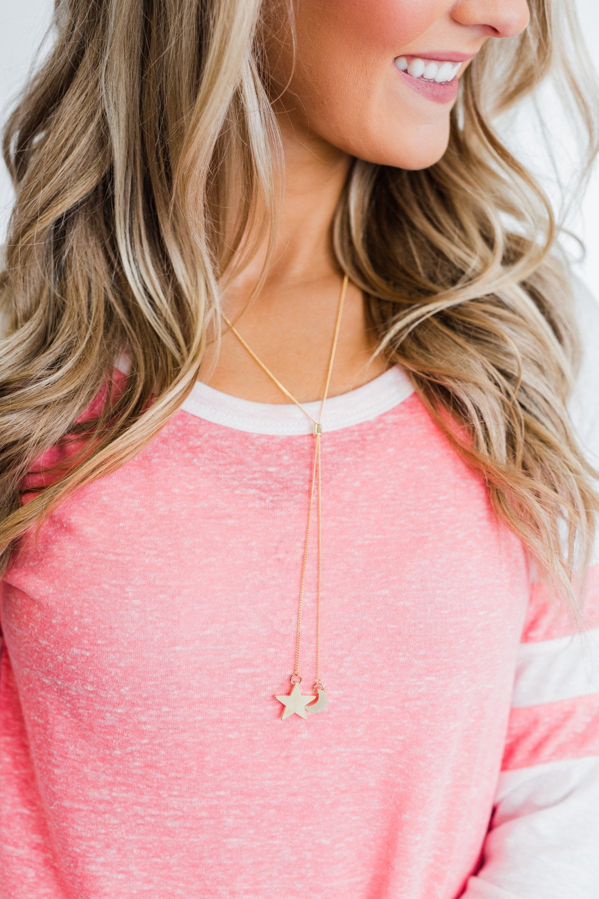 Star and Moon Drop Necklace- Gold