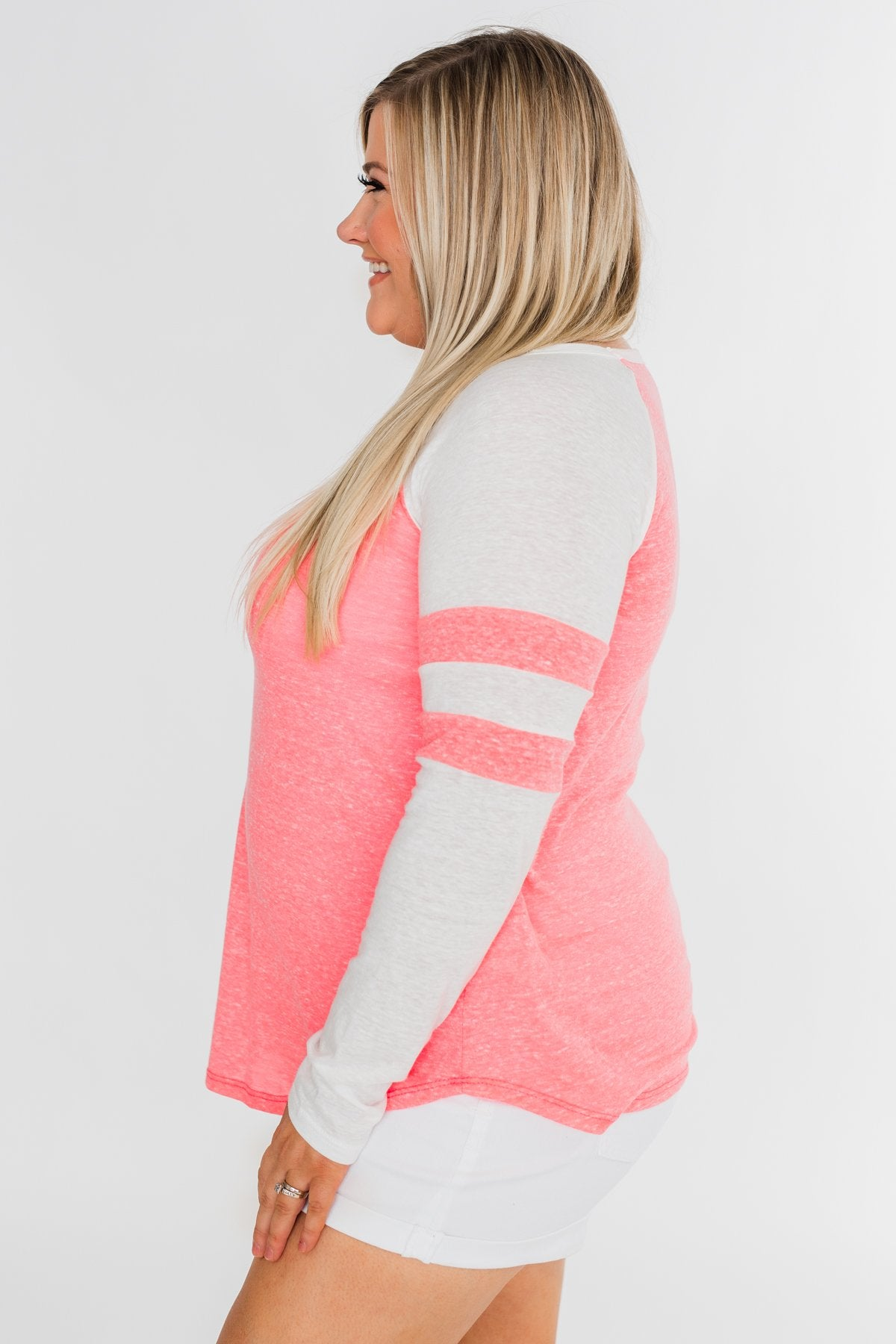Long Sleeve Raglan Top- Neon Pink