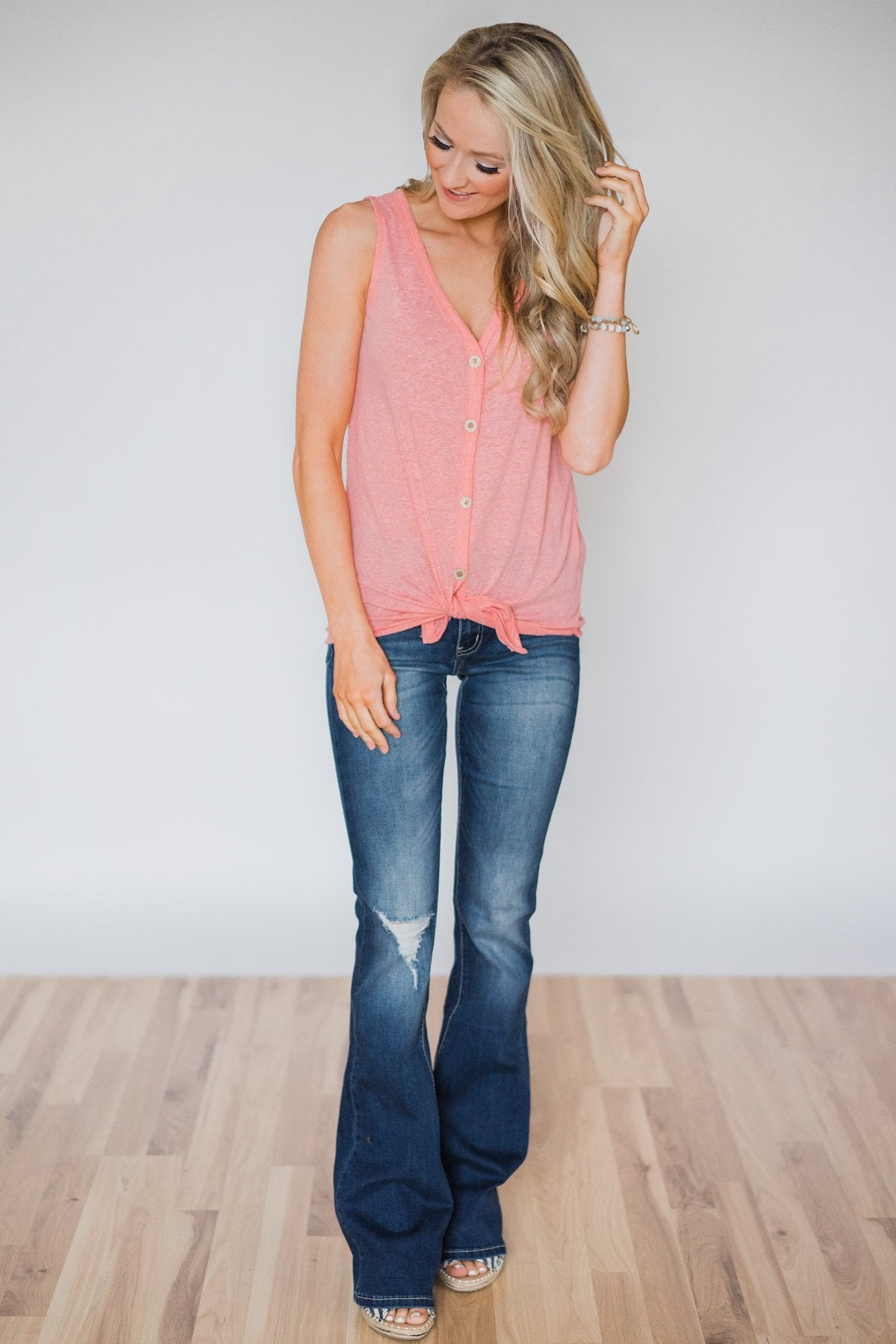 Everyday Button Tie Tank Top- Pink