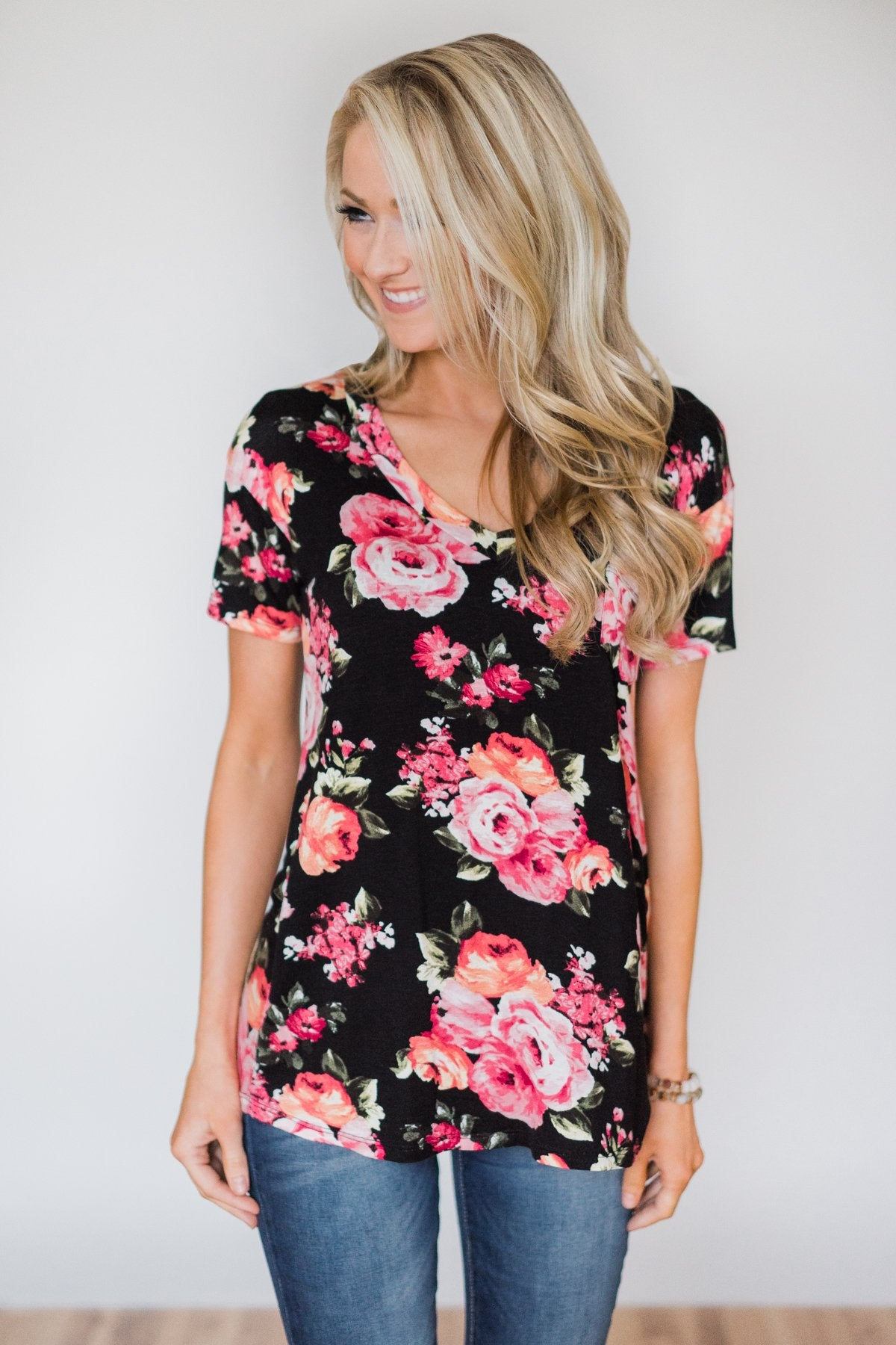 Attracted to You Floral V-Neck Pocket Top- Black