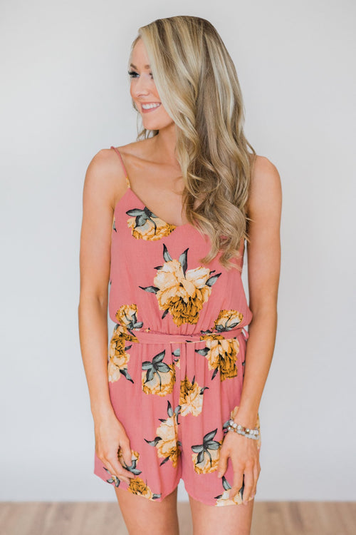 Vacation Vibes Floral Romper- Mauve