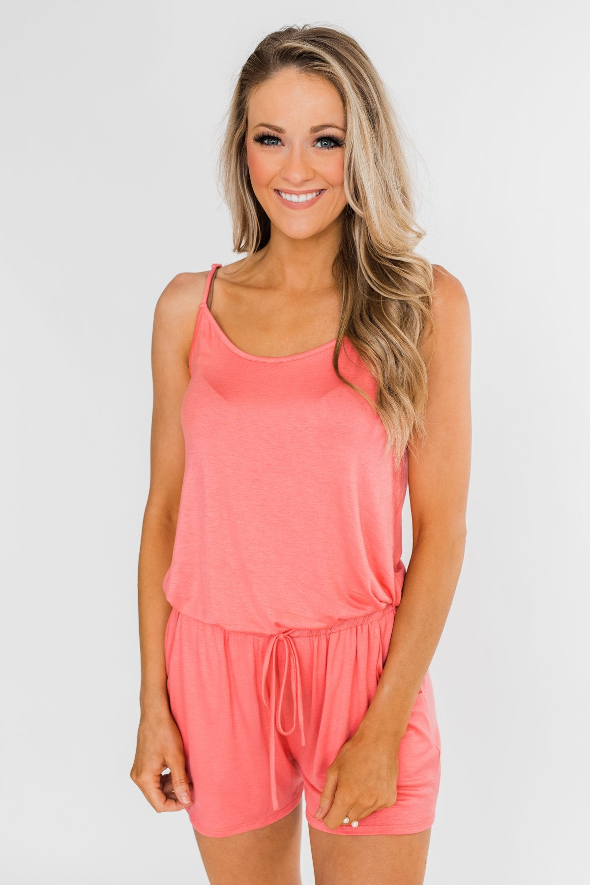 Sleeveless Drawstring Romper- Soft Coral