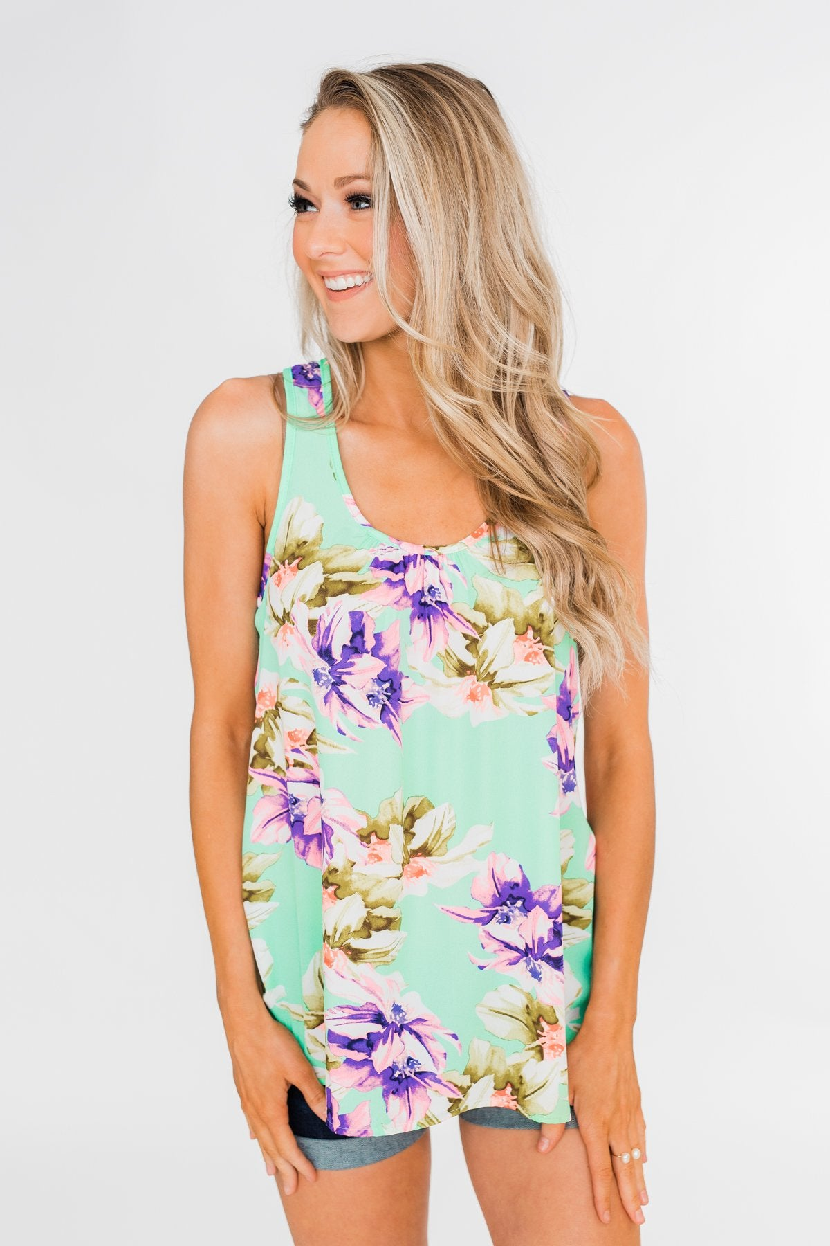 Another Day in Paradise Floral Tank Top- Bright Mint
