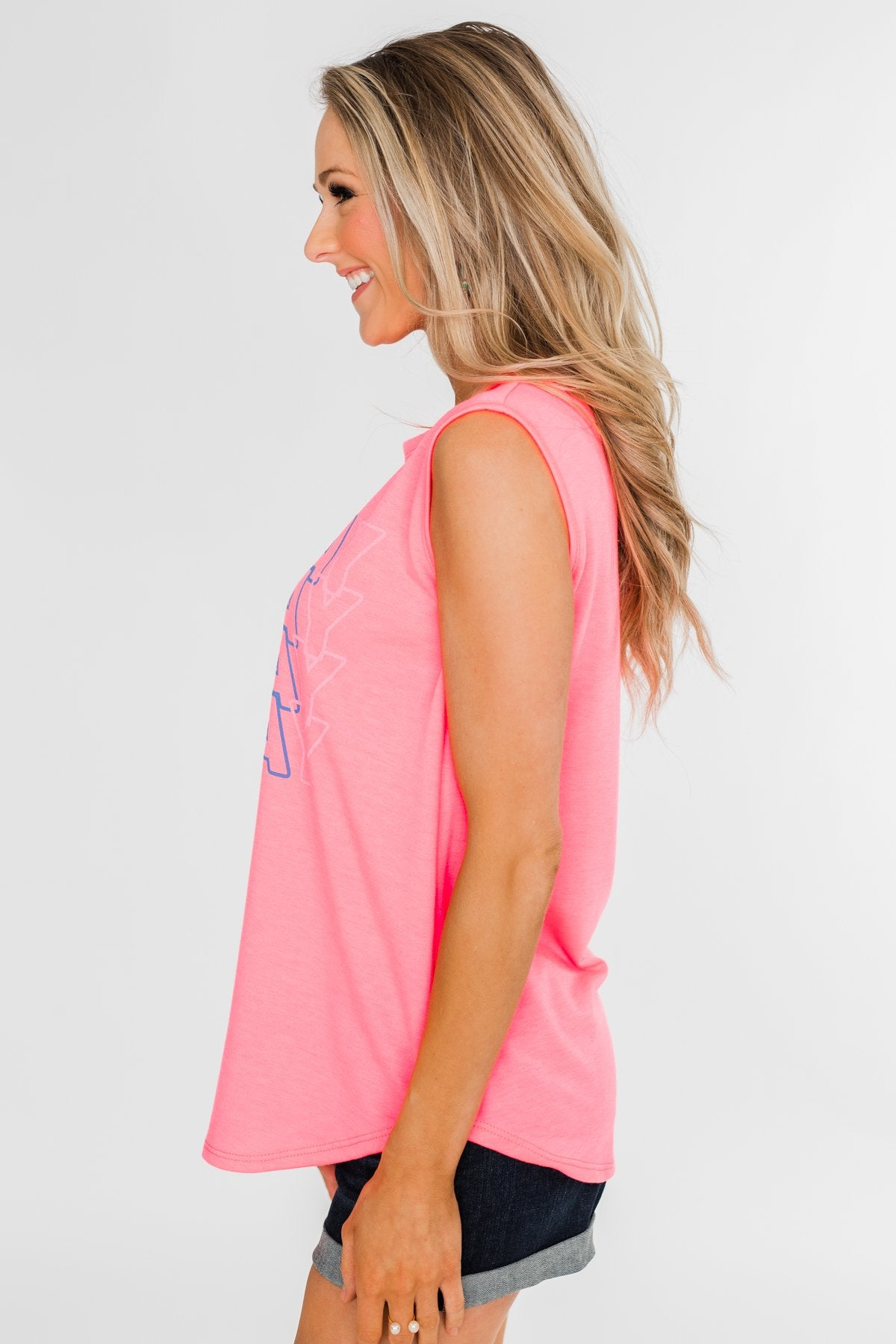 """Vacay"" Graphic Tank Top- Neon Pink"