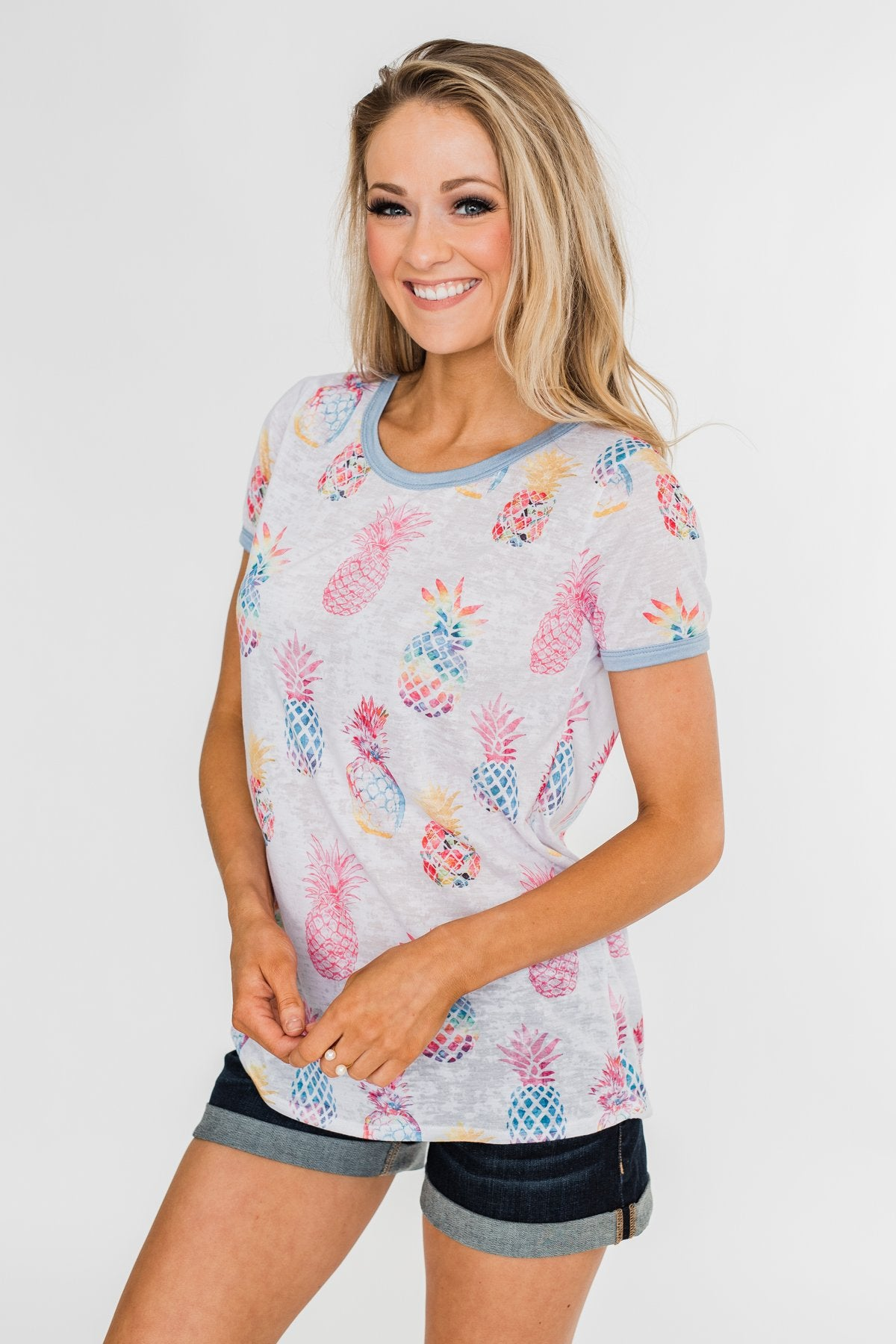 Stand Tall Pineapple Top- Blue