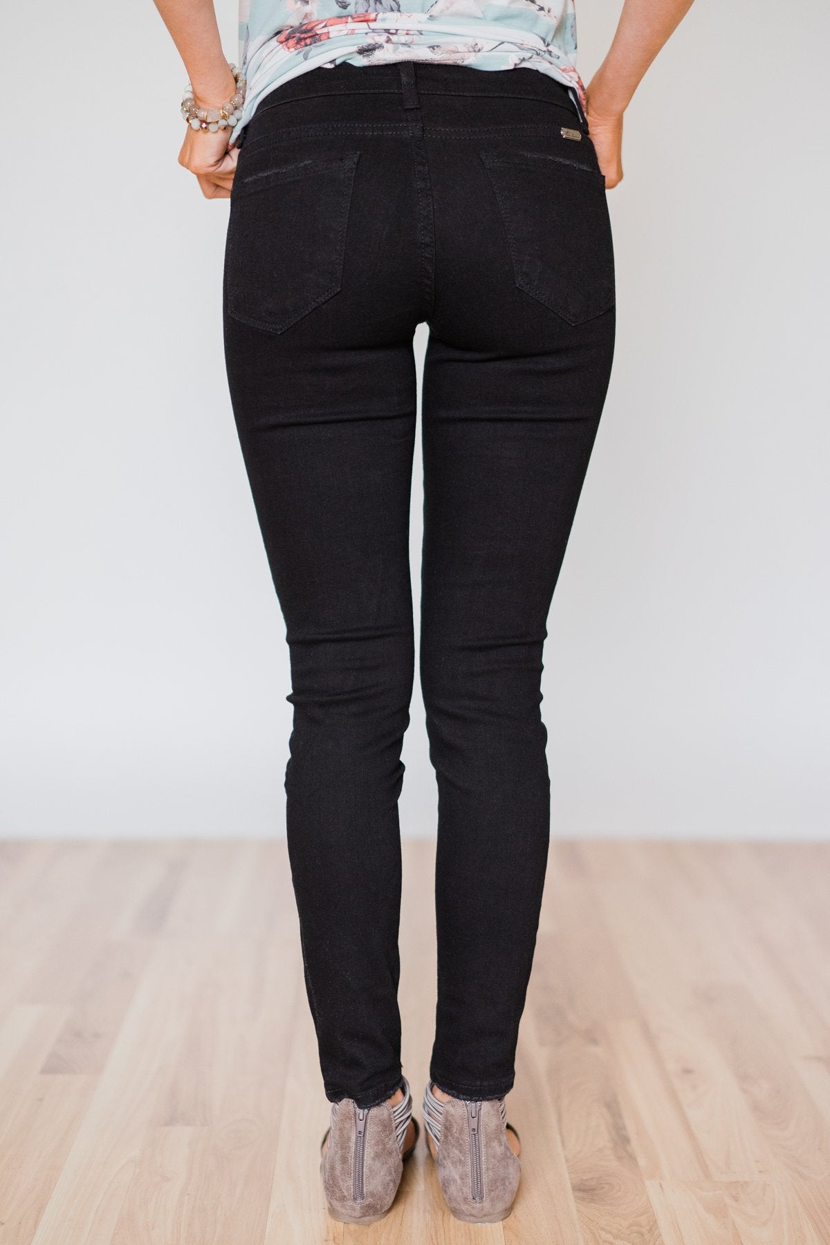 Kan Can Black Distressed Skinny Jeans