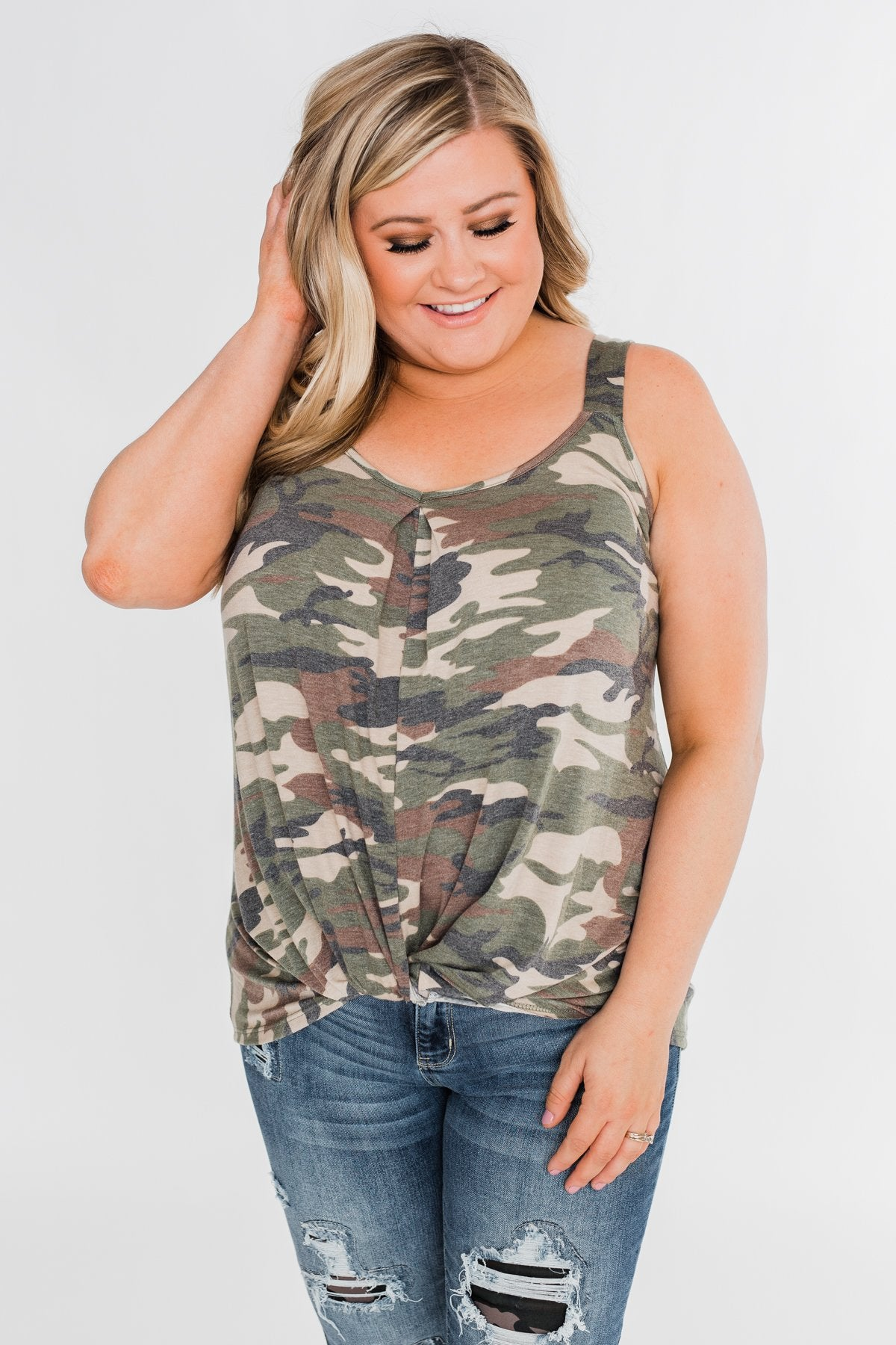 Crazy for Camo Front Twist Tank Top