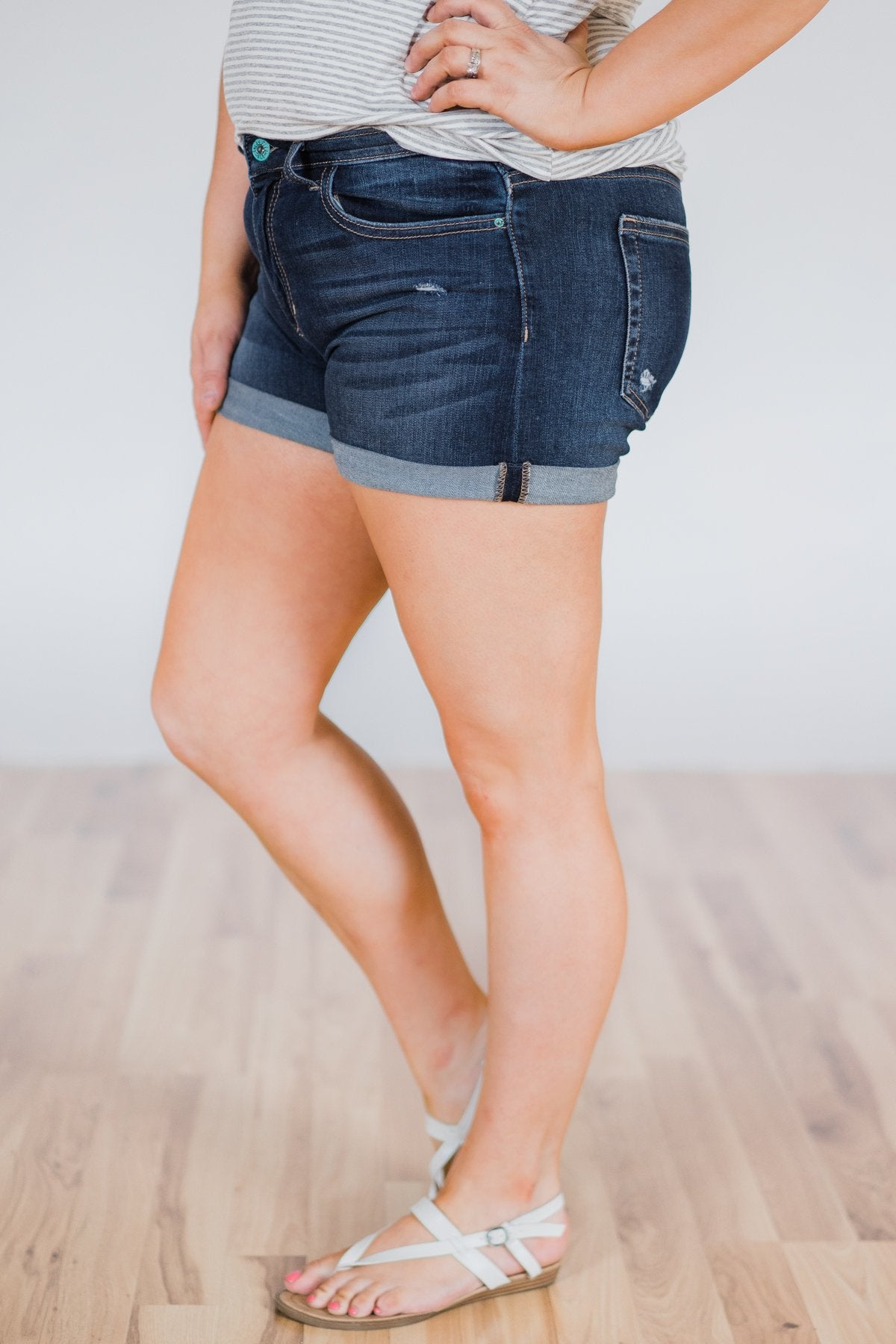 Sneak Peek Shorts- Erin Dark Wash