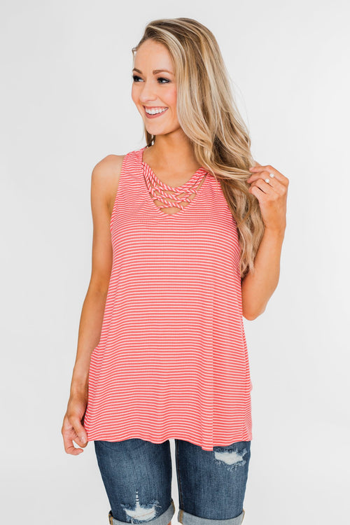 e341be145952 Mirage Criss Cross Tank Top- Pink & White