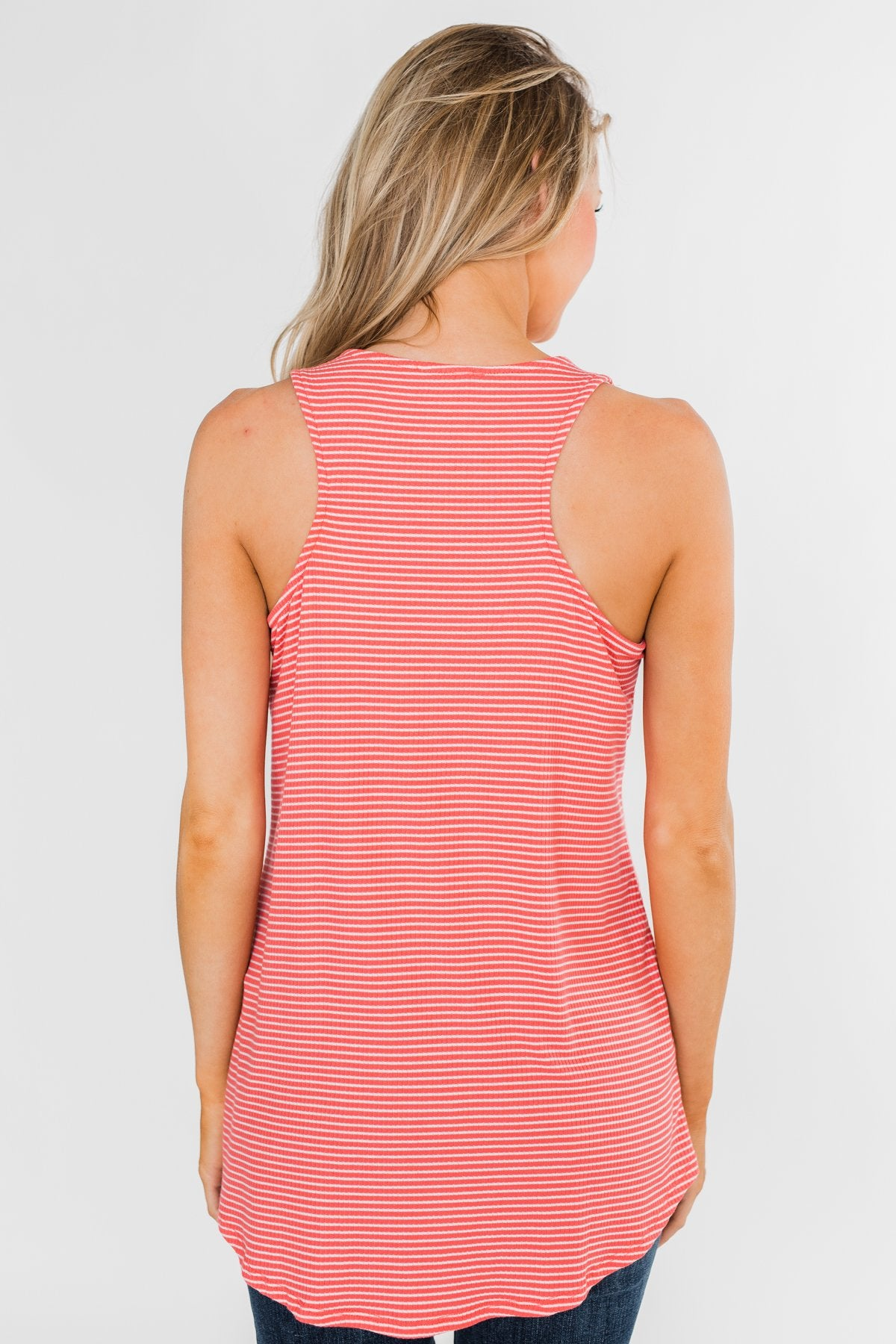 Mirage Criss Cross Tank Top- Pink & White