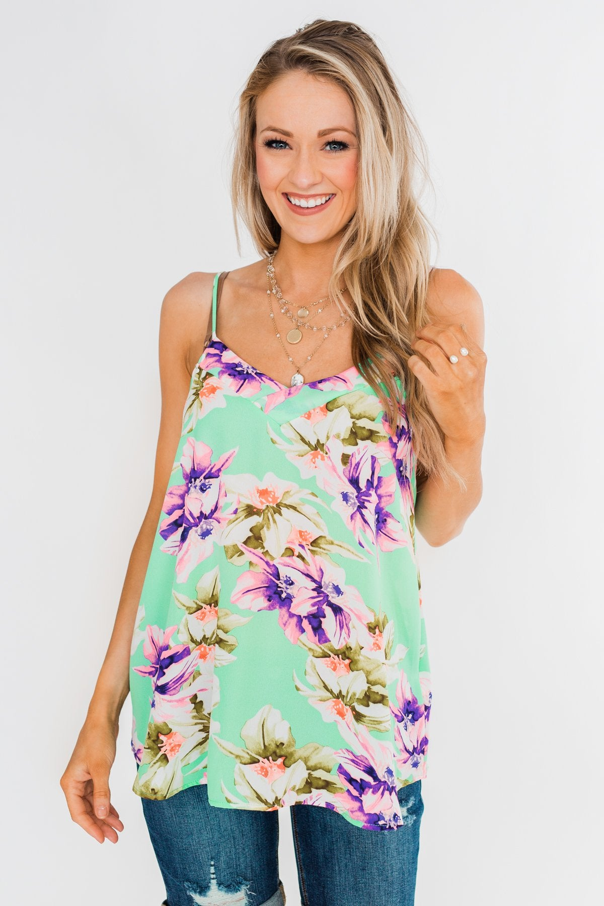 Leave You Speechless Floral Tank Top- Bright Mint