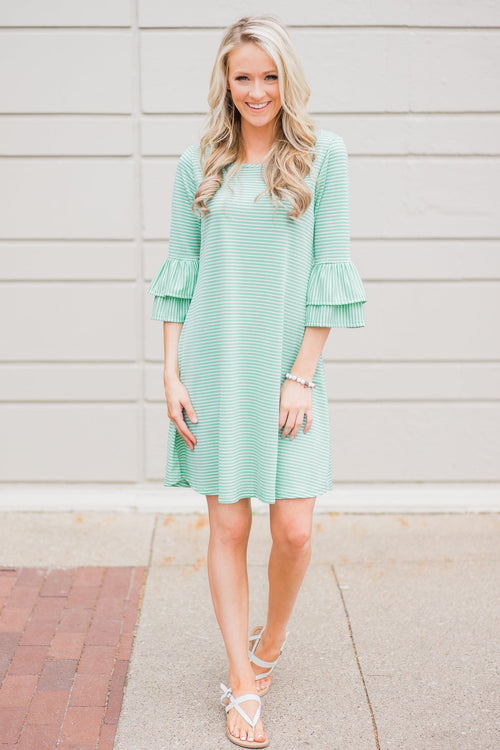 Seeing Stripes Dress- Mint