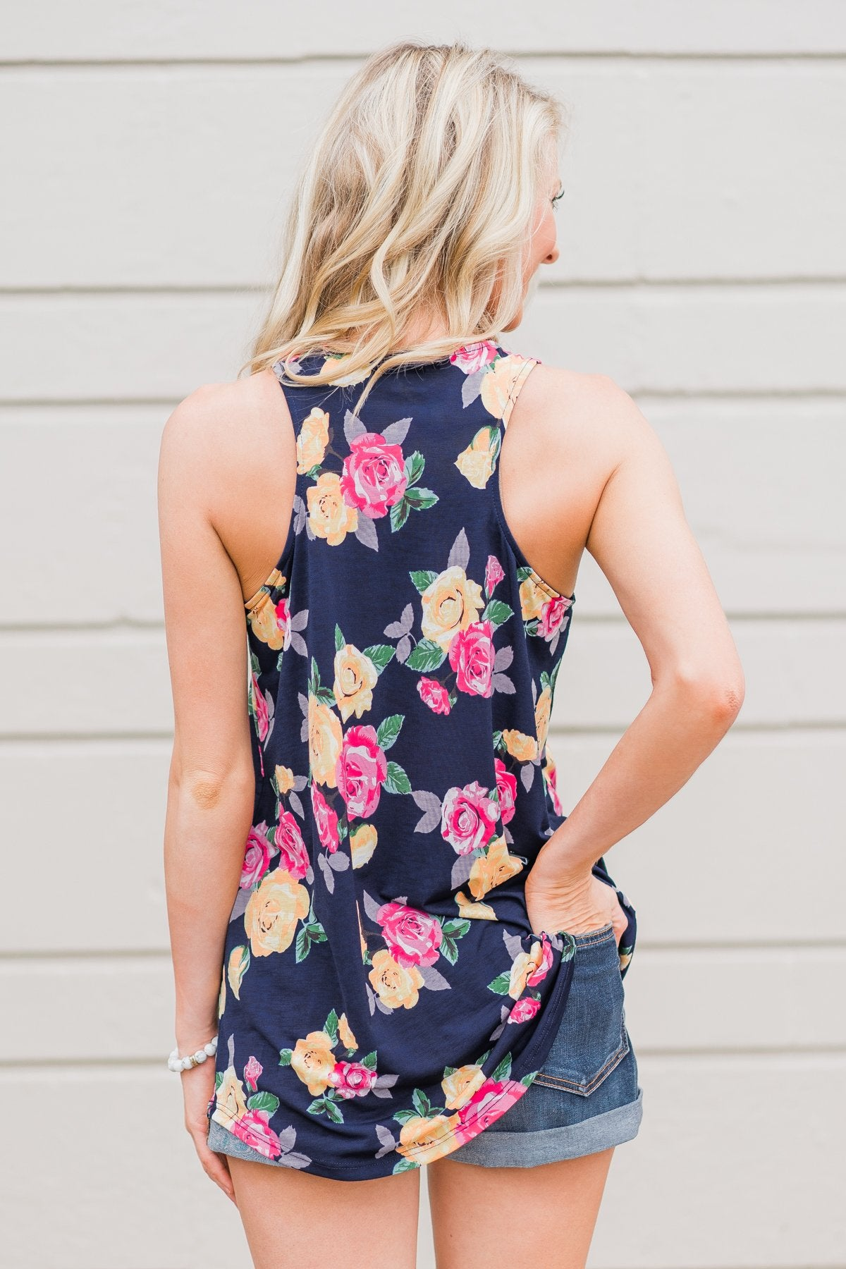 Beautiful Blossoms Criss Cross Tank Top- Navy