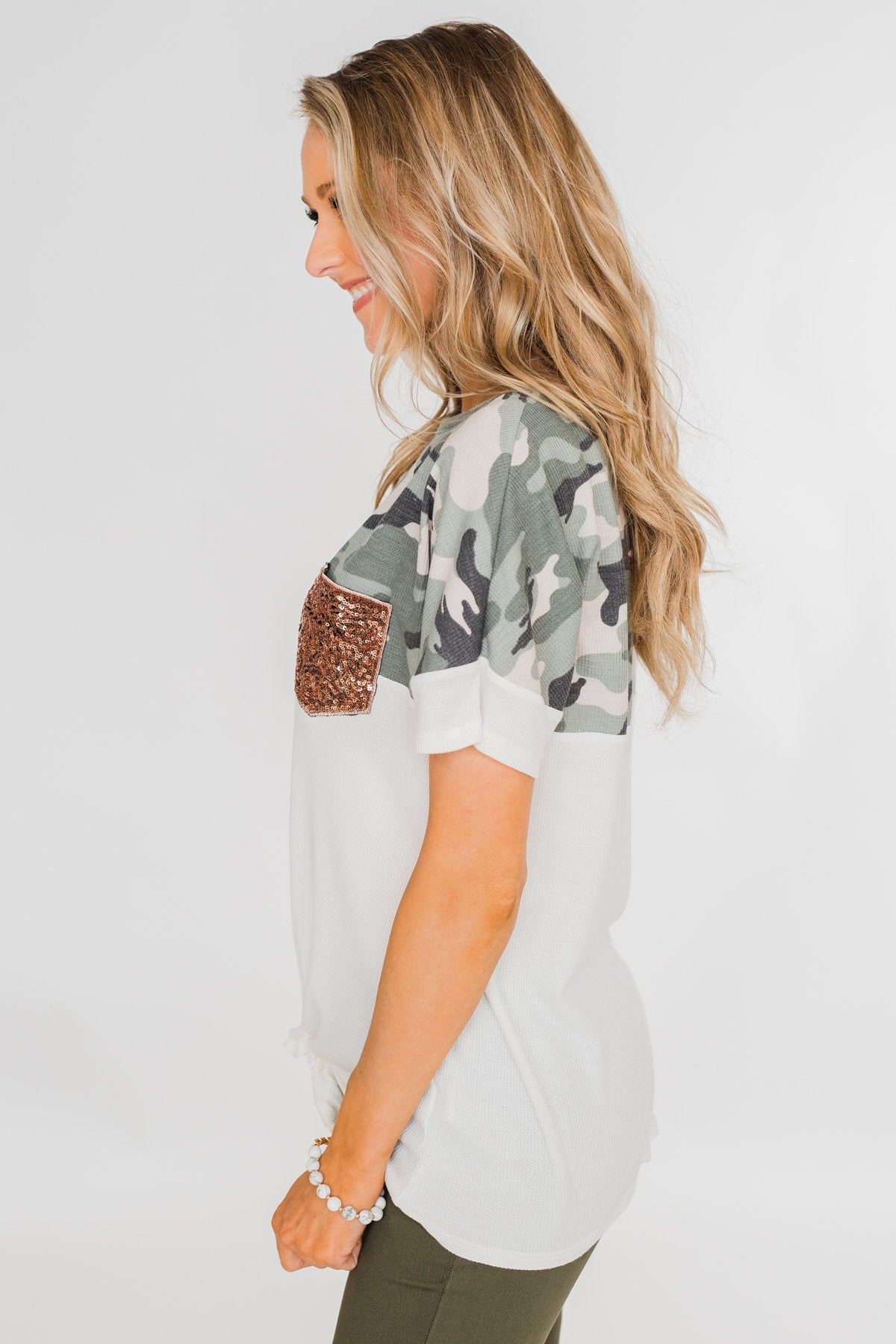 Something Special Camo Color Block Top- Ivory