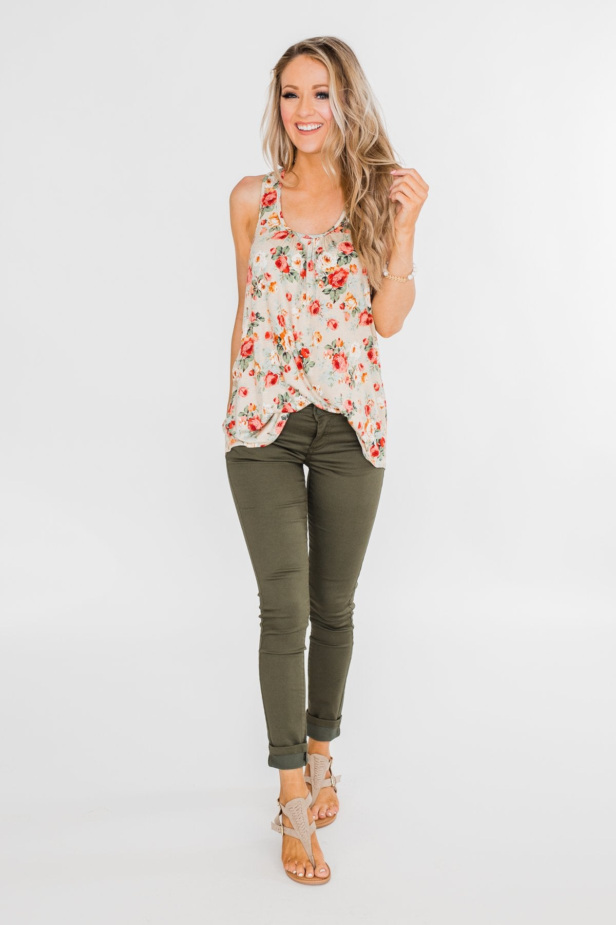 Next to You Floral Tank Top- Light Taupe