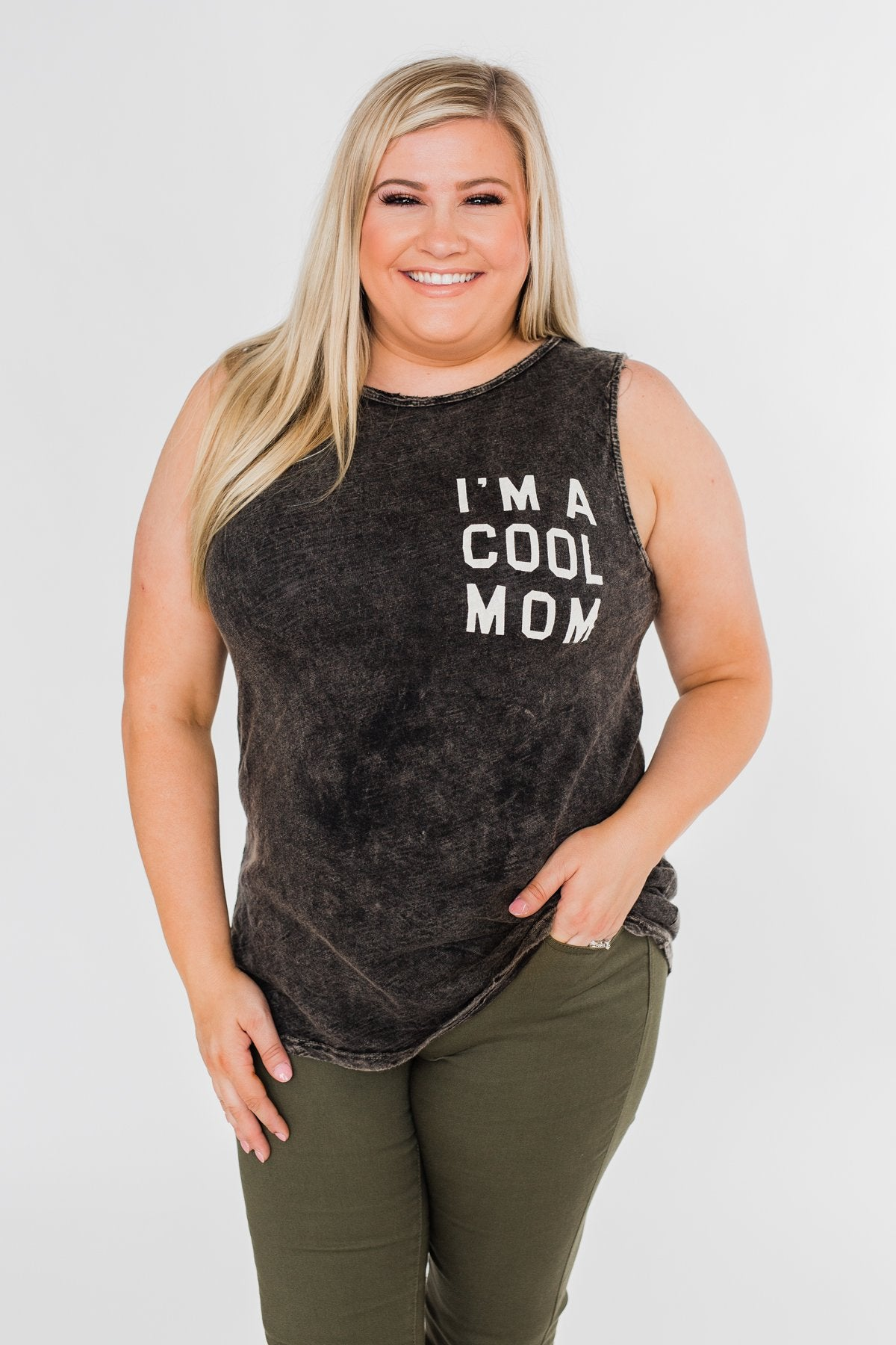 """I'm a Cool Mom"" Tank Top- Black Vintage"