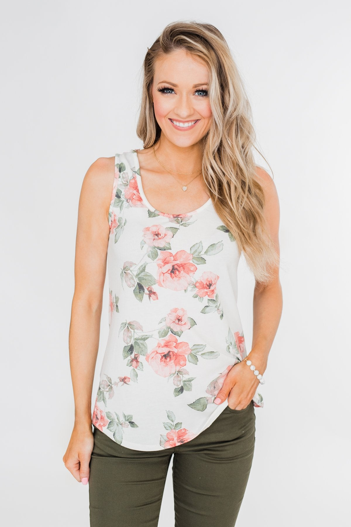 Ready When You Are Lace Back Tank Top- Ivory