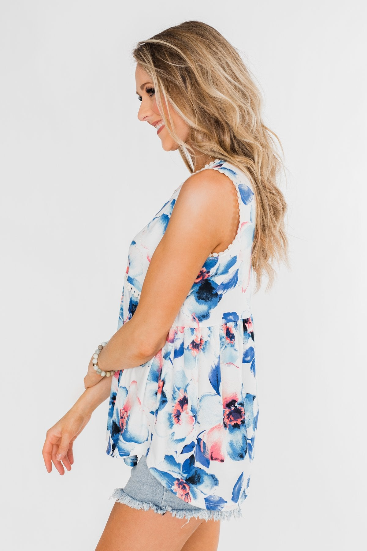 Summer Vacation Floral Babydoll Tank- Ivory & Blue