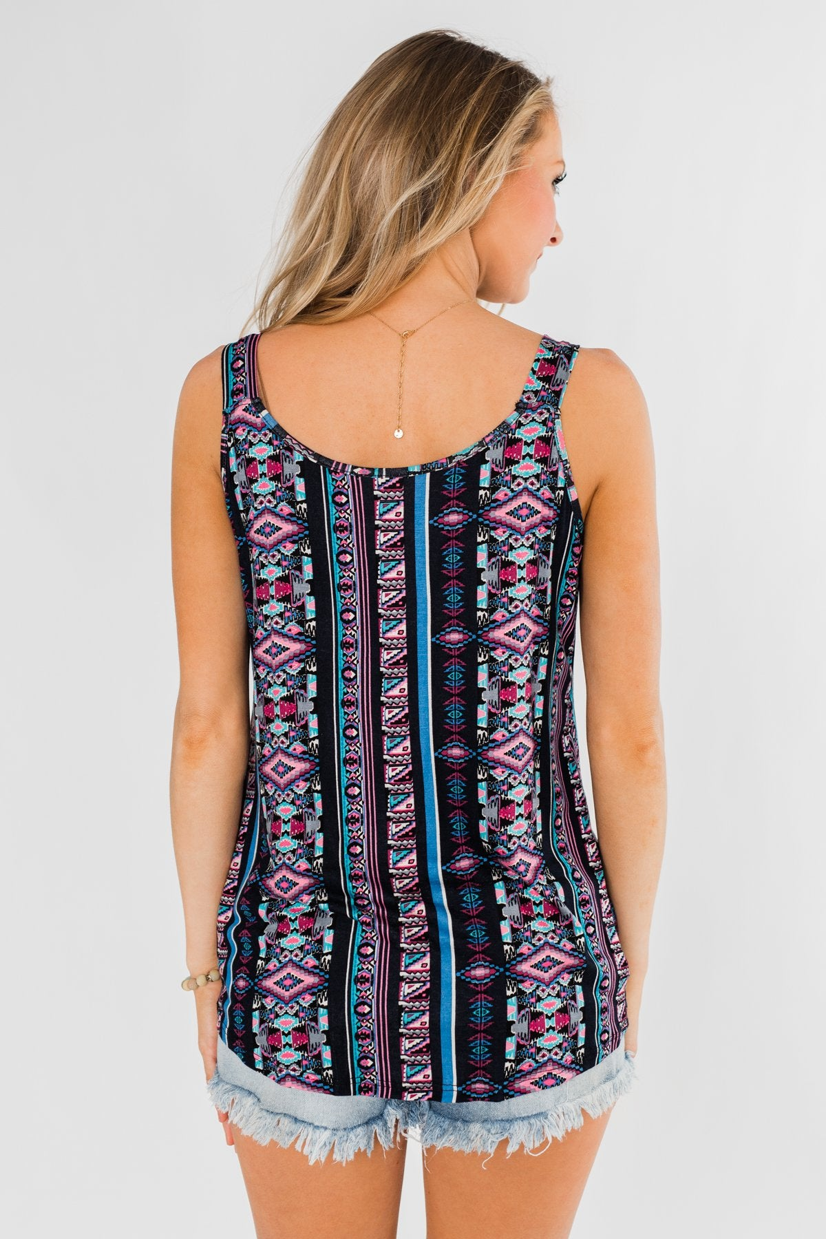Set on You Aztec Twist Tank Top- Dark Navy & Pink