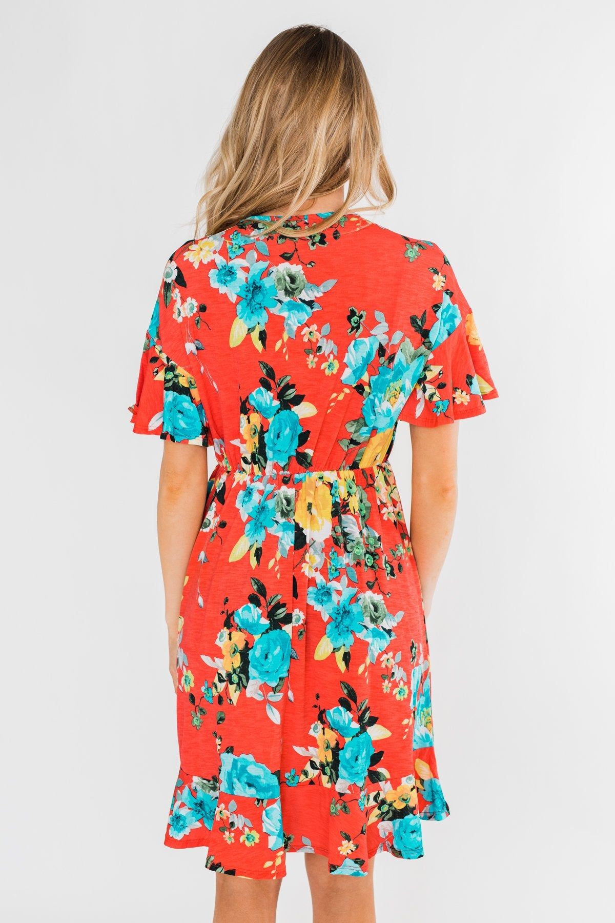 Time To Twirl Floral Ruffle & Wrap Dress- Deep Coral