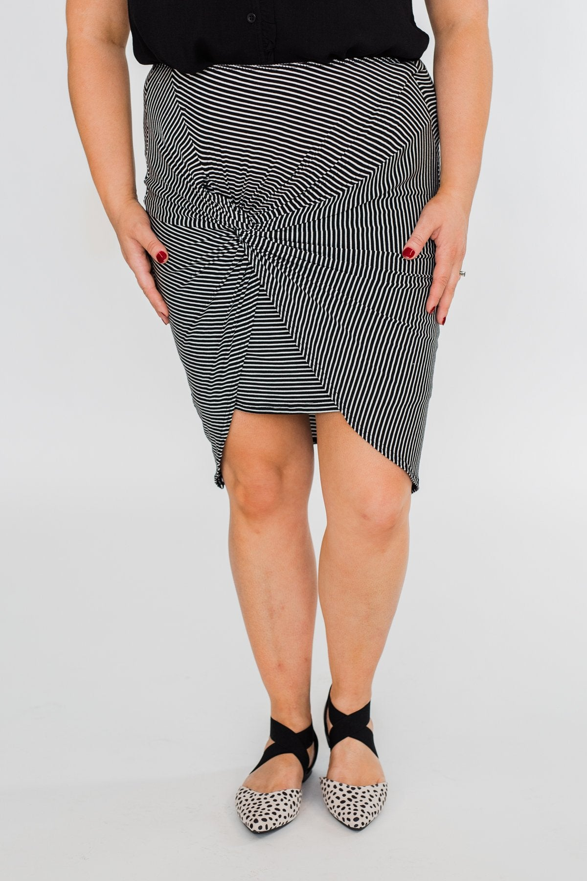 Double Layer Striped Skirt- Black & White
