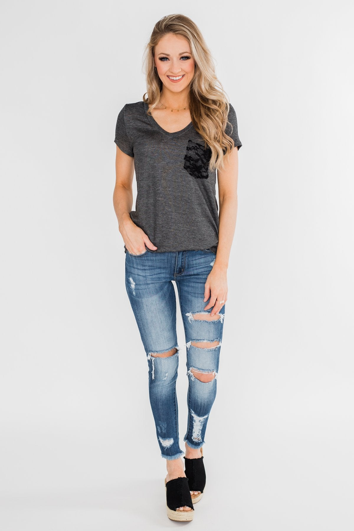 Torn Up in Lace Pocket Top- Black & Charcoal