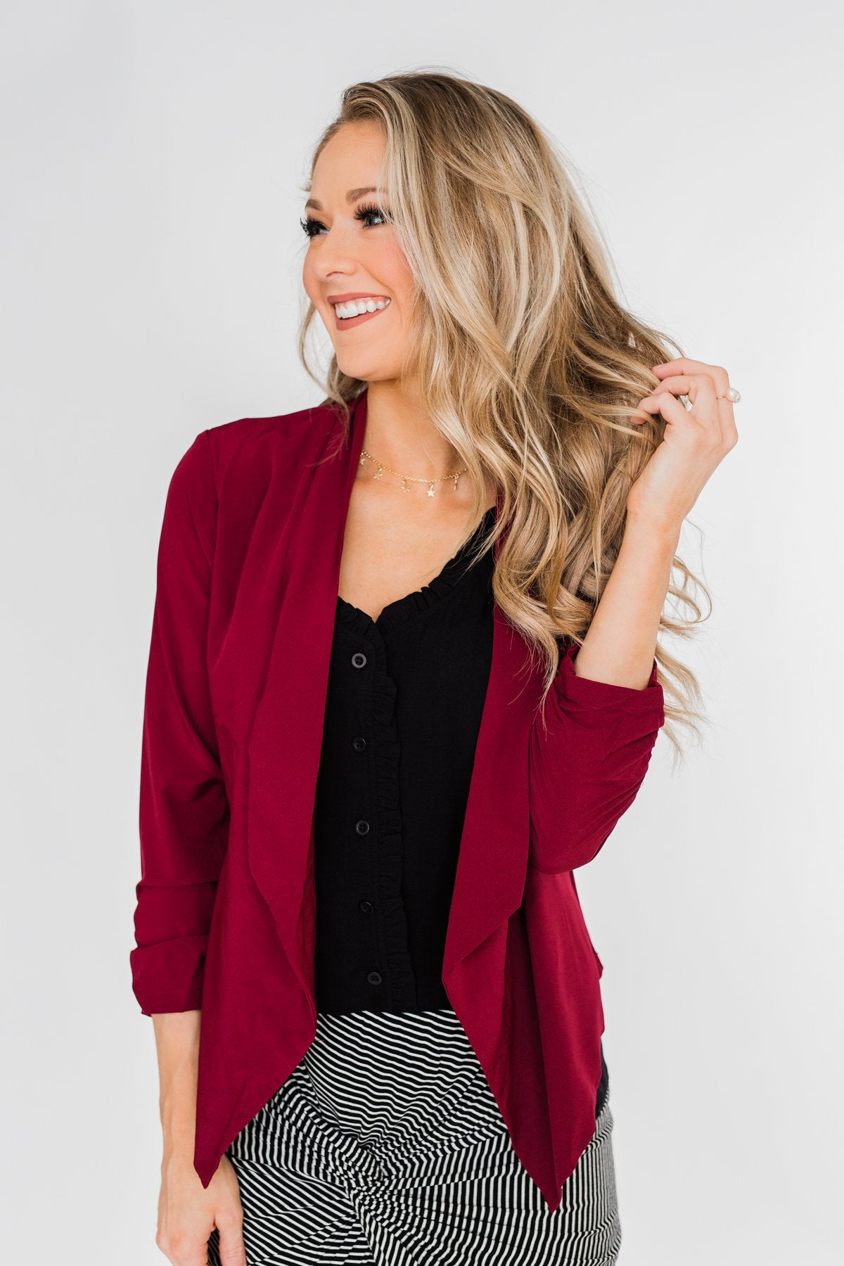 Keep It Professional Blazer- Wine