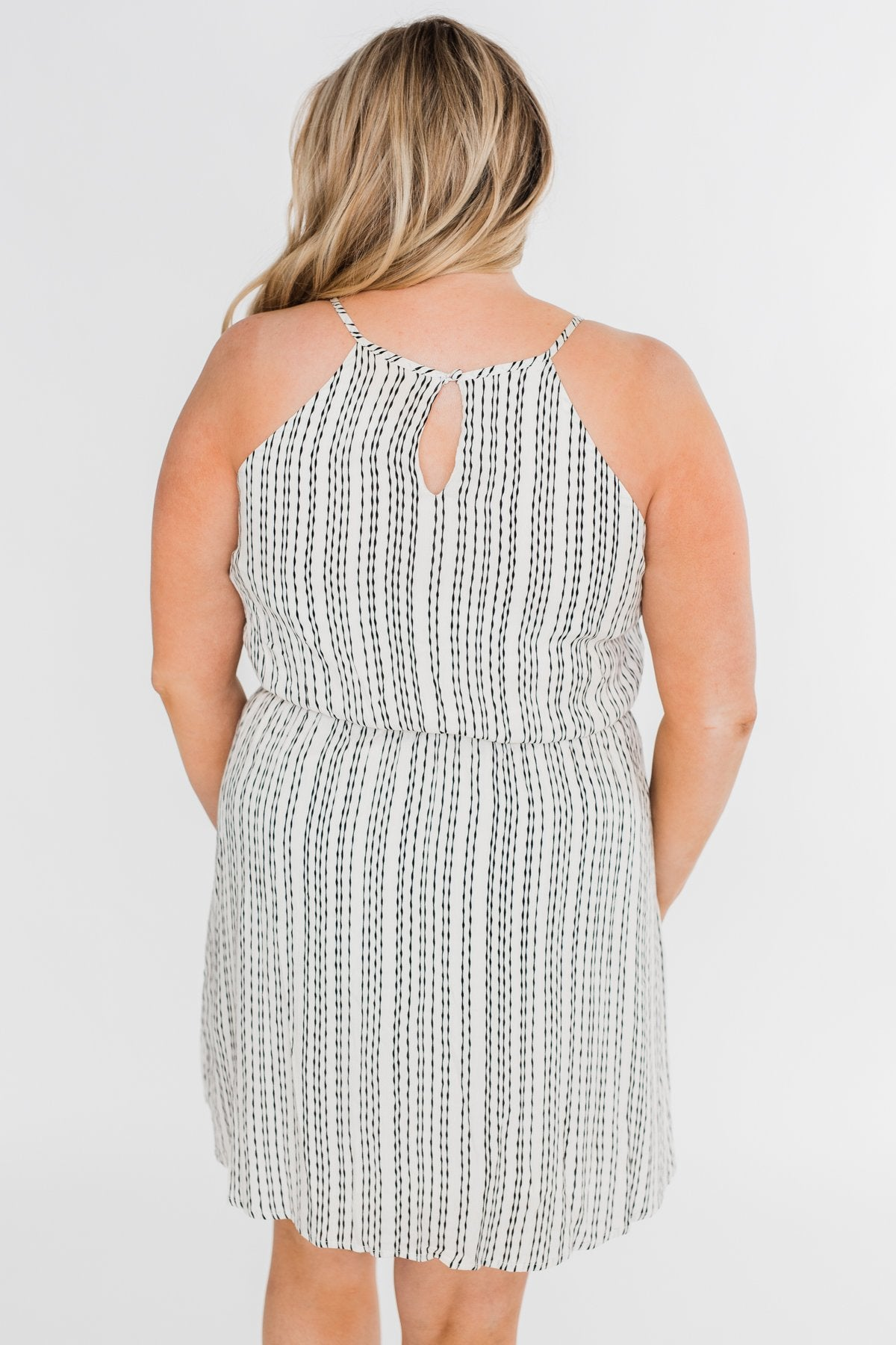 By the Way Striped Halter Dress- Ivory