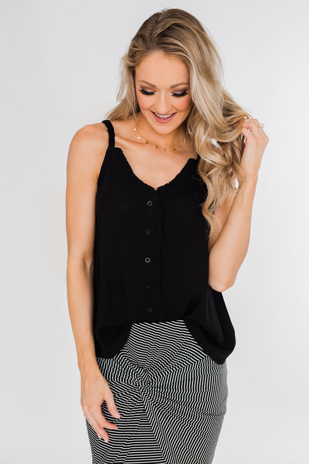 Happy Together Ruffle Tank Top- Black