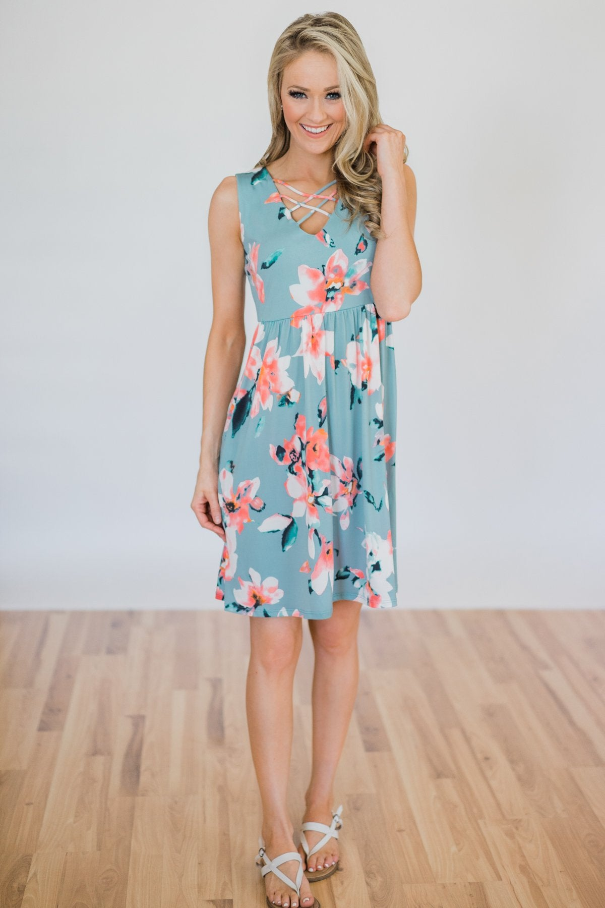 Baby, You're Beautiful Floral Dress- Light Blue