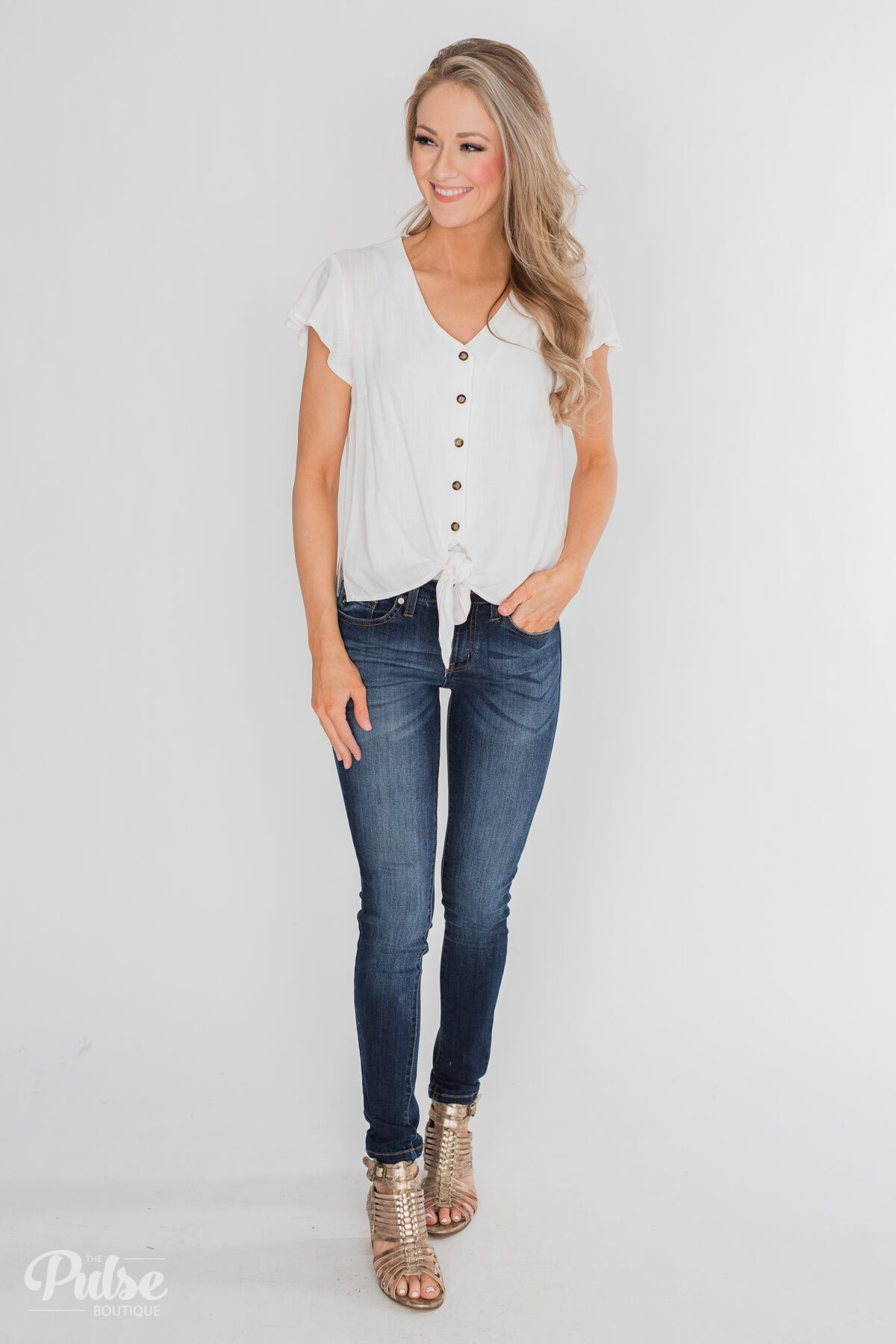 Believe in Me Button Down Top - Off White Outfit