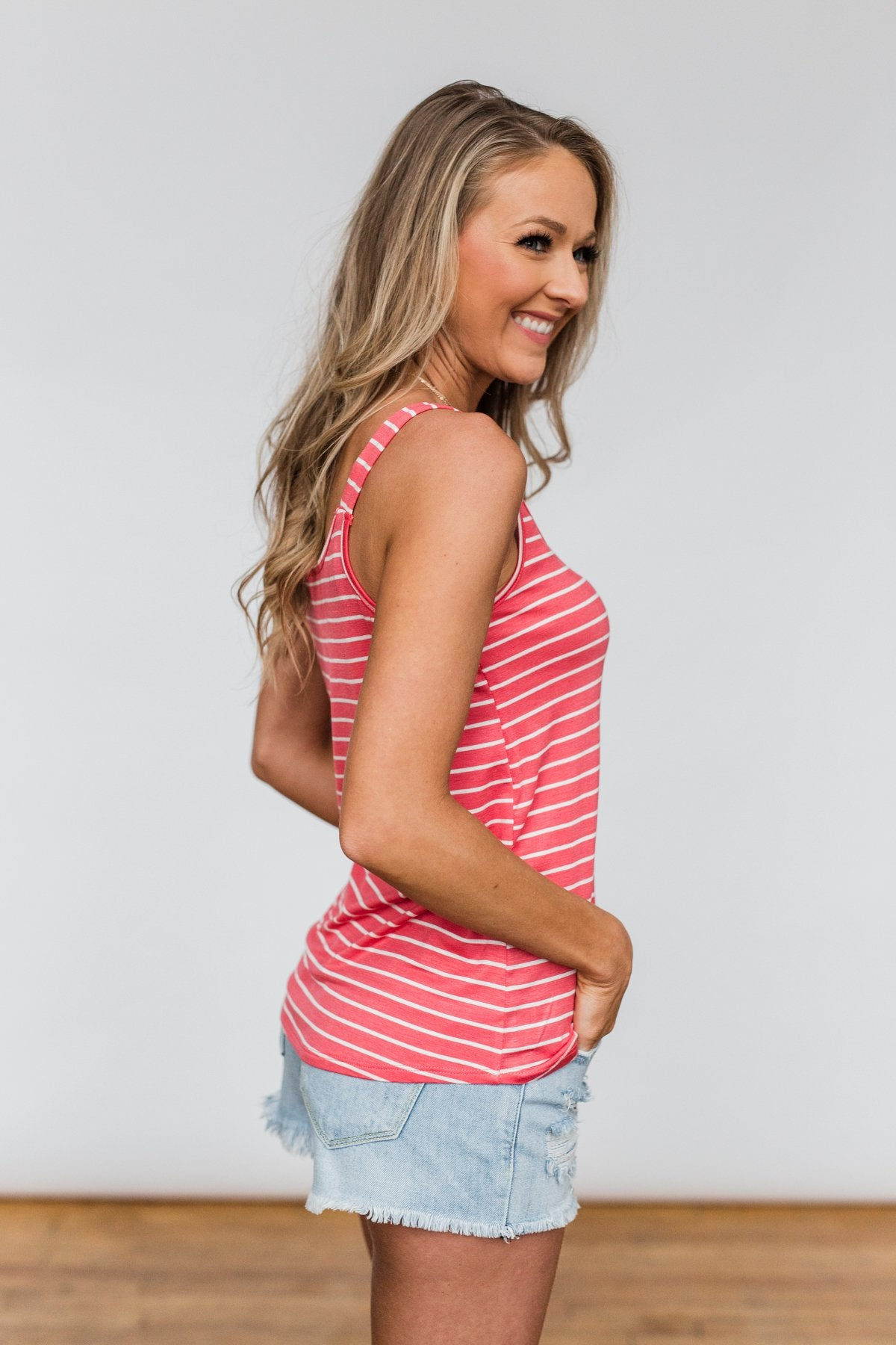 No Matter What Striped Button Tank Top- Coral