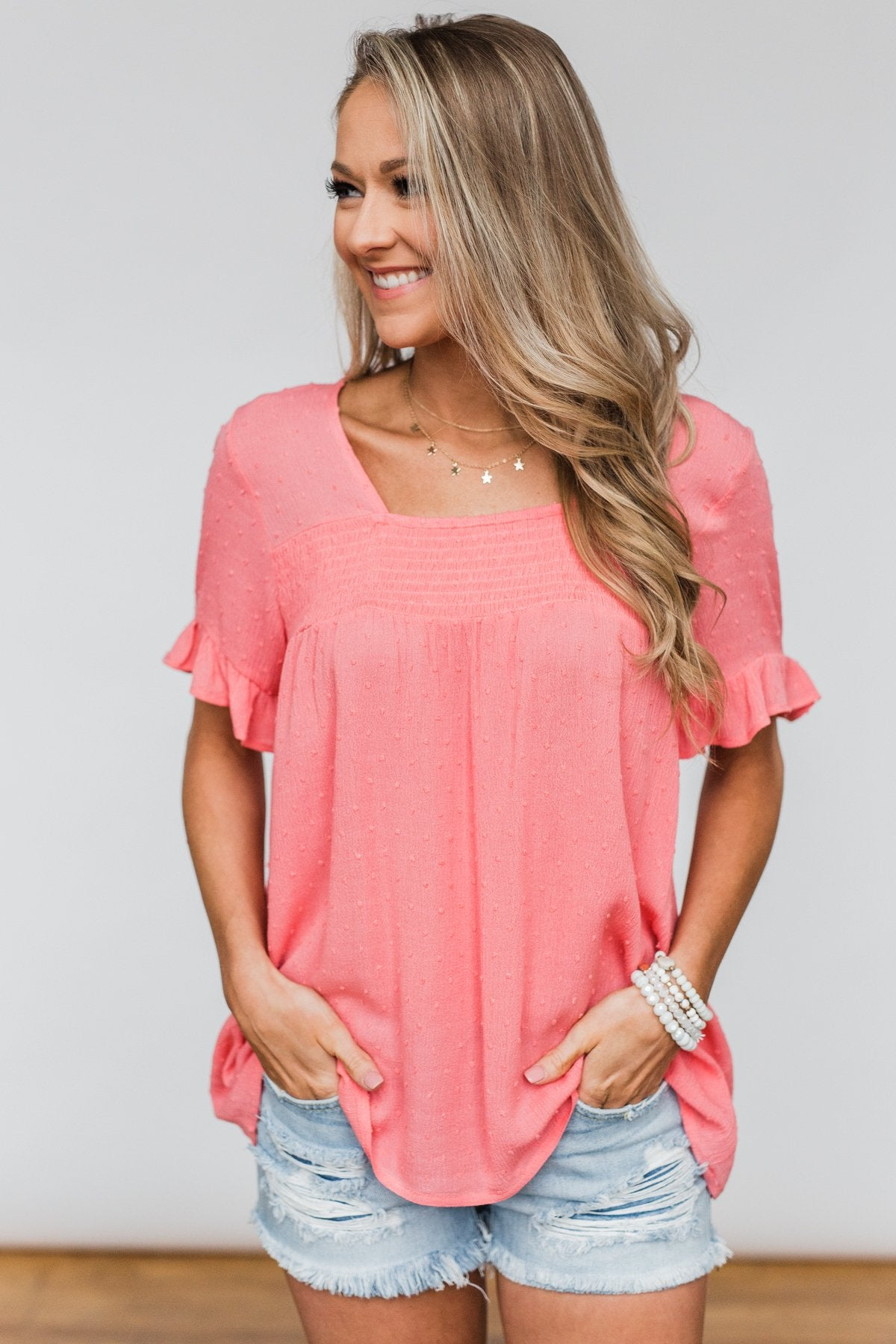 See You Again Short Sleeve Top- Coral