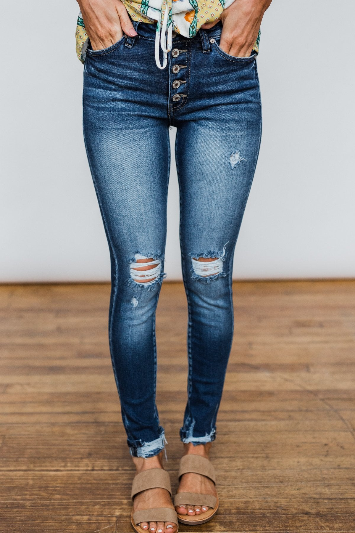 KanCan Button Fly Jeans- Melanie Wash