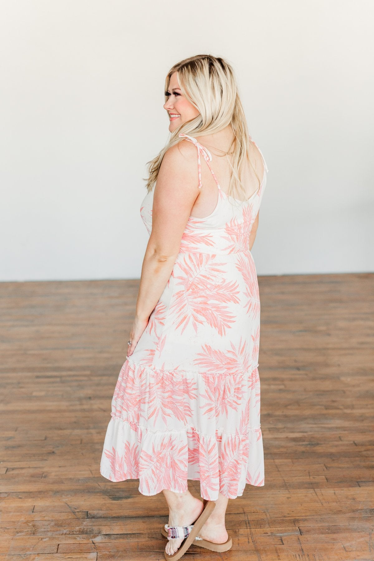 Finding Paradise Tropical Midi Dress- Ivory & Coral