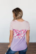 Floral Fragrances Color Block Top- Pink & Purple